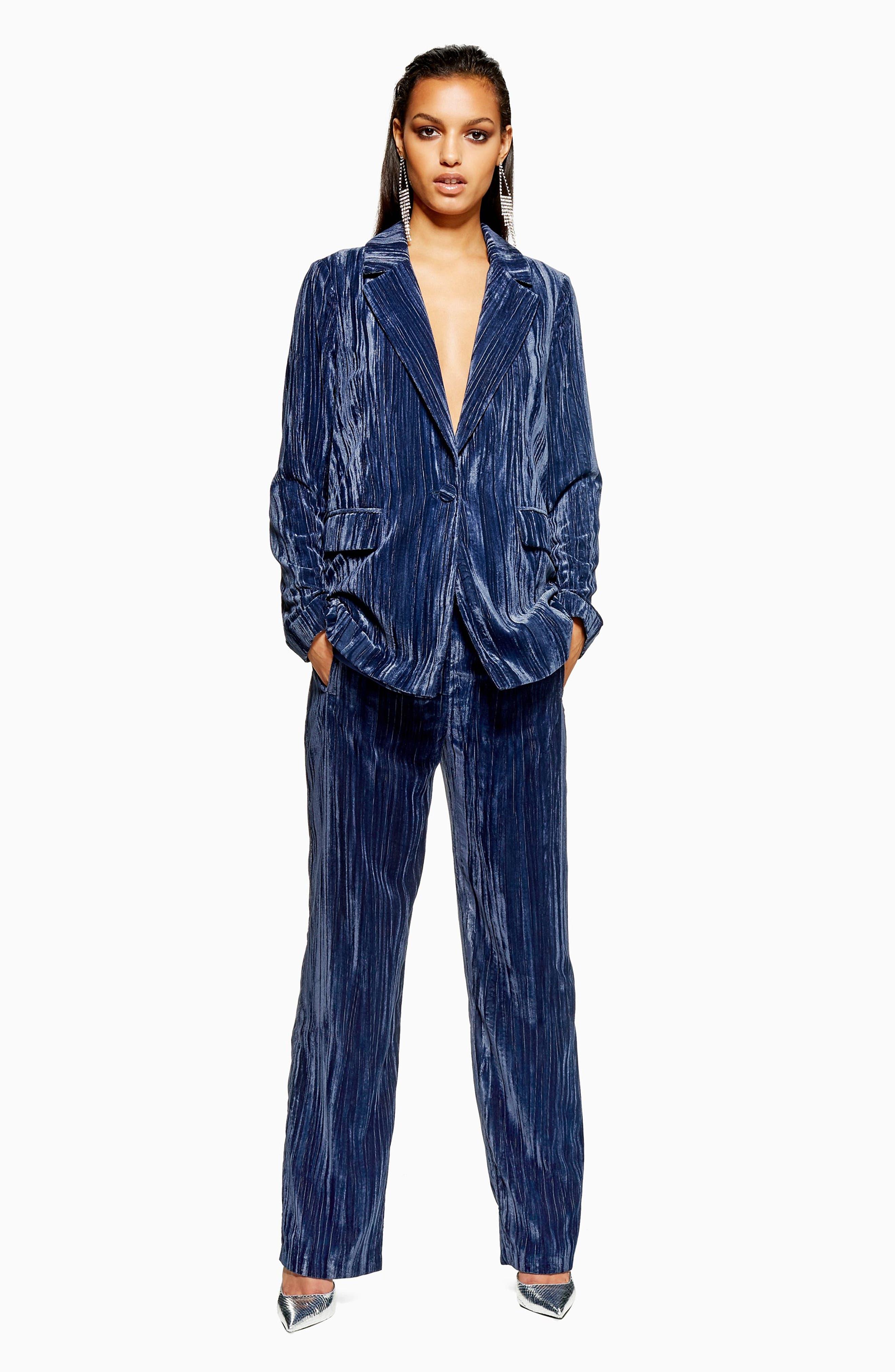 Crinkle Velvet Jacket,                             Alternate thumbnail 6, color,                             BLUE