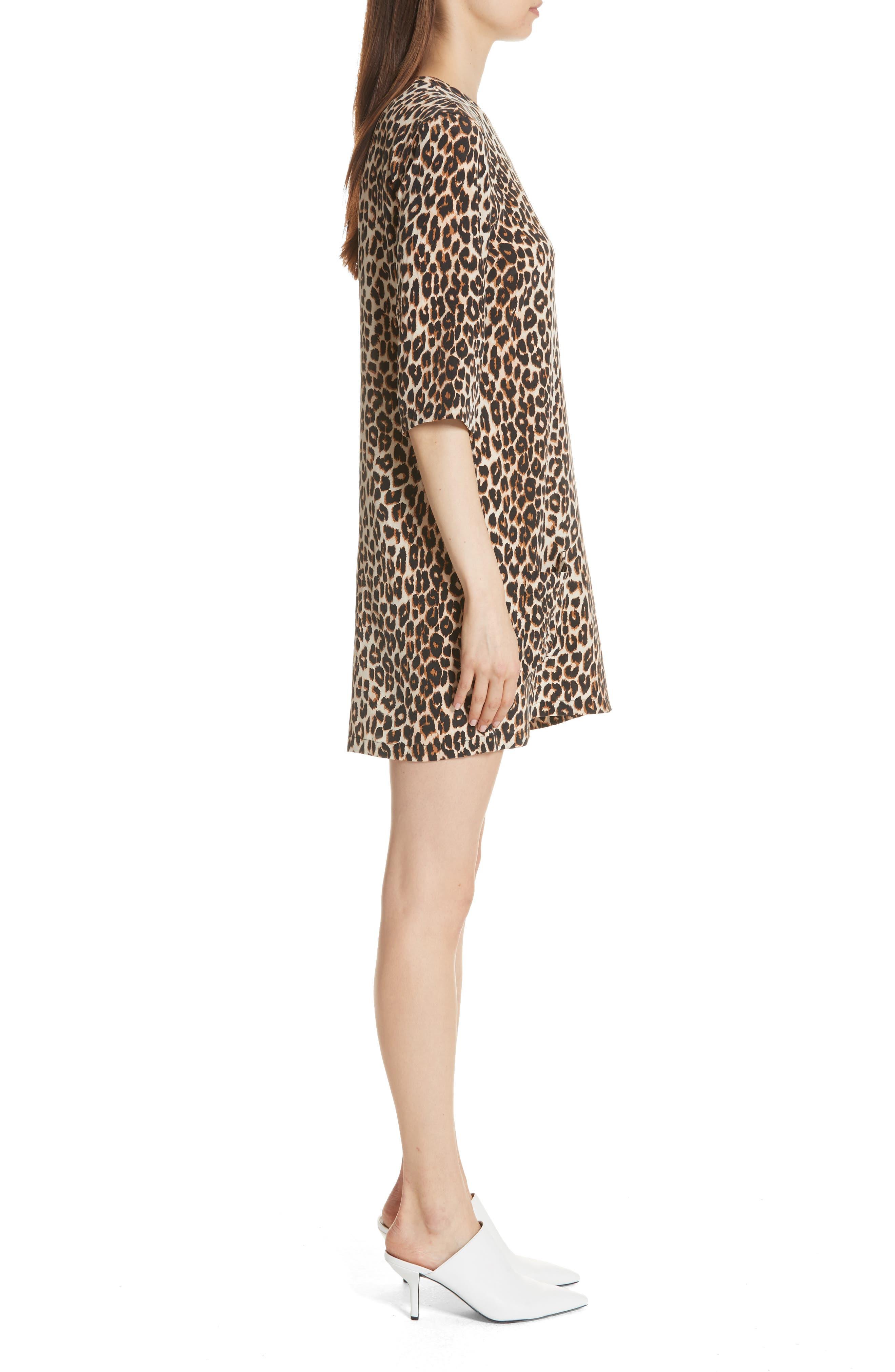 Leopard Print Silk Shift Dress,                             Alternate thumbnail 3, color,                             101