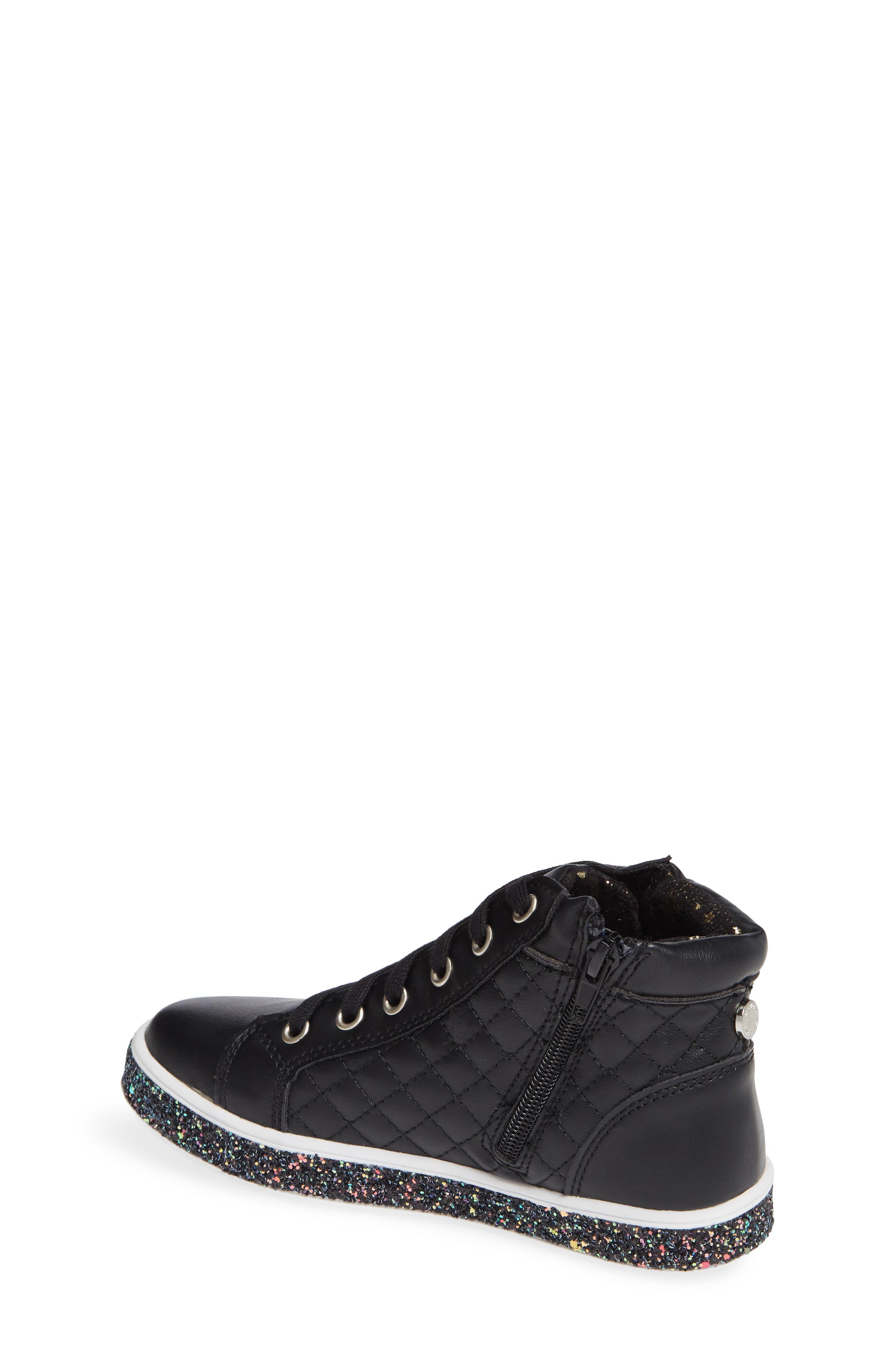 Glittery High Top Sneaker,                             Alternate thumbnail 2, color,                             BLACK