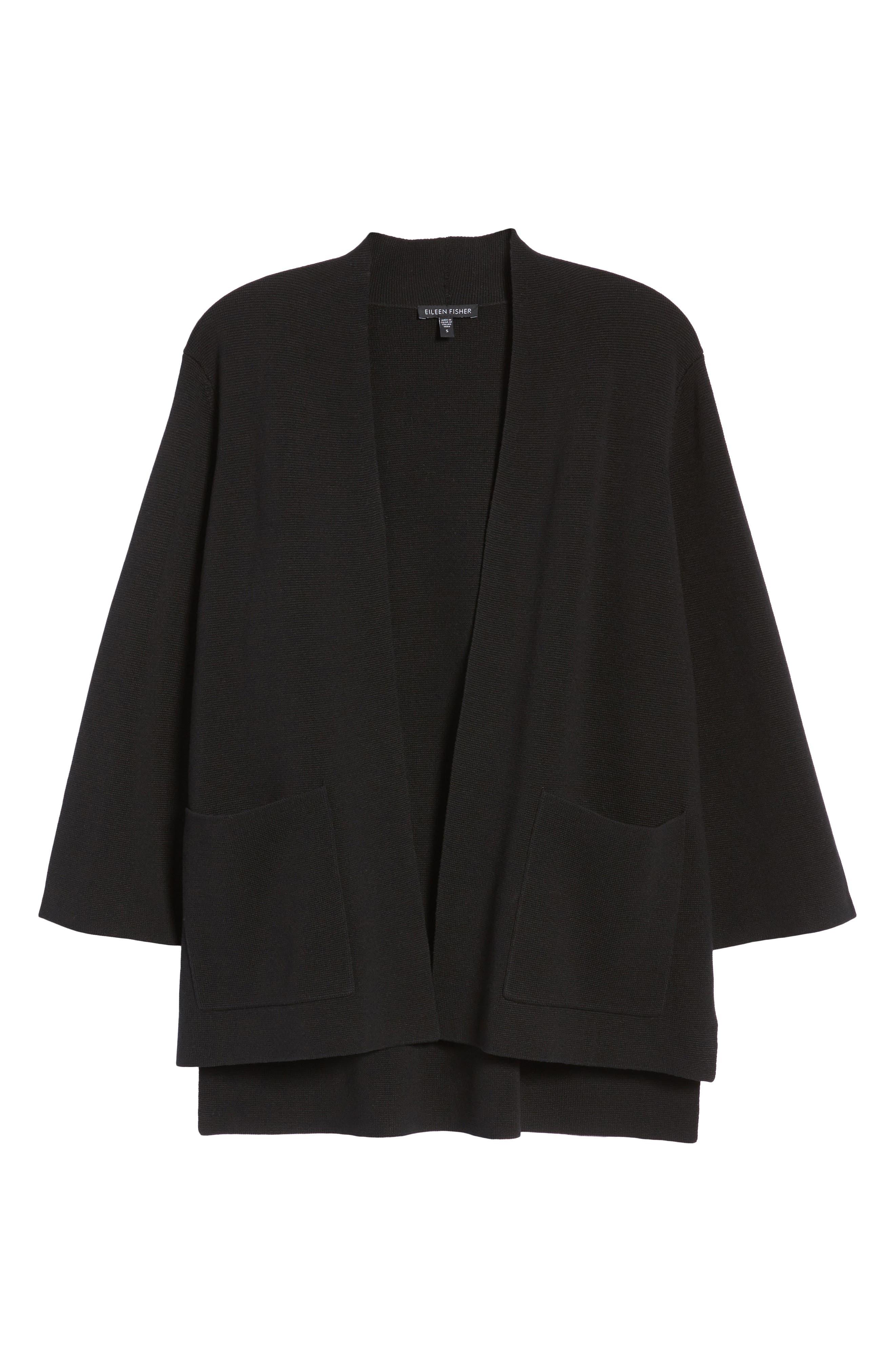 Stand Collar Silk & Organic Cotton Cardigan,                             Alternate thumbnail 7, color,                             001