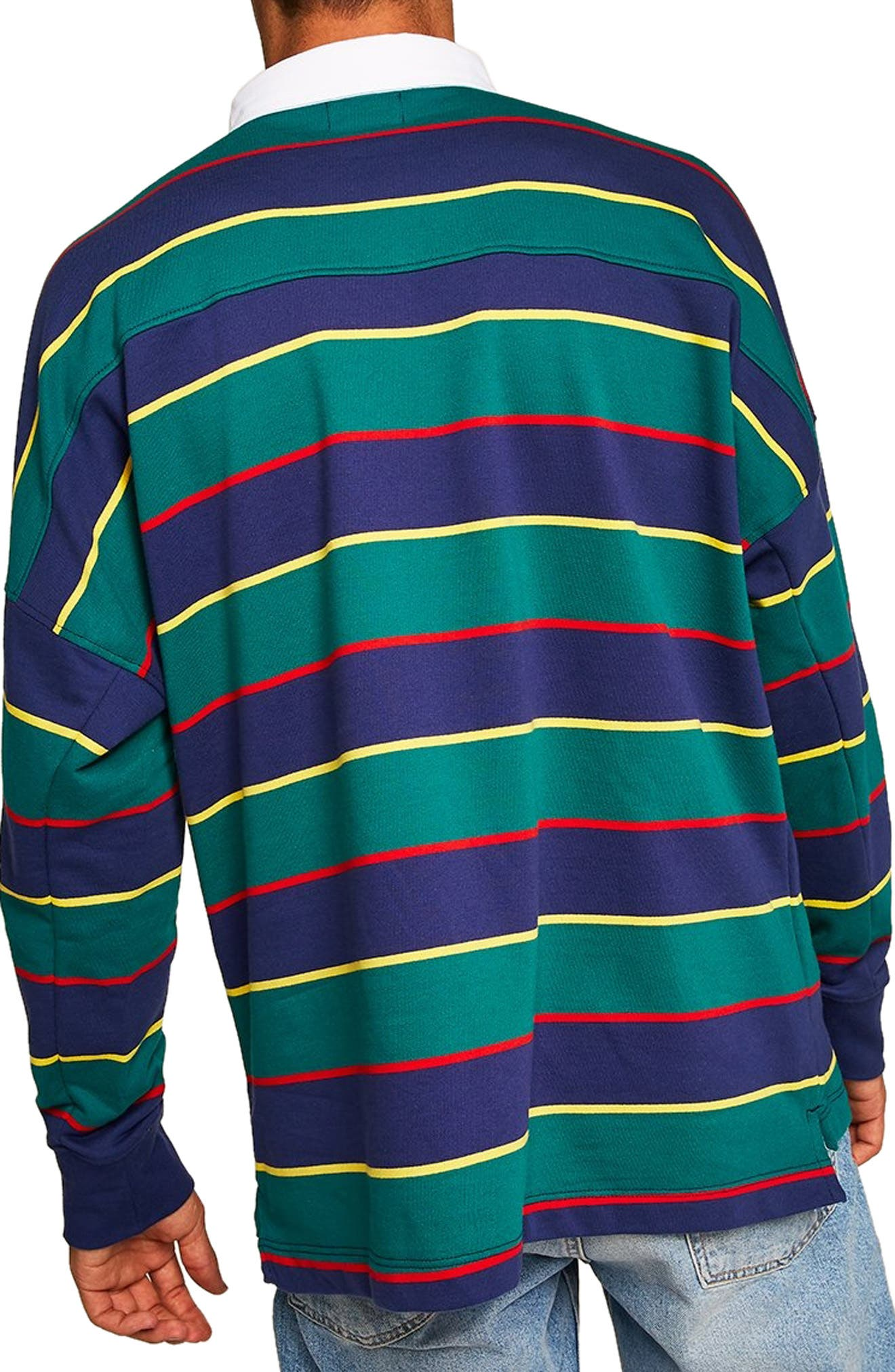 Rugby Stripe Shirt,                             Alternate thumbnail 3, color,                             GREEN MULTI
