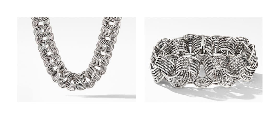 Crown Jewels: David Yurman origami chainlink necklace and bracelet.