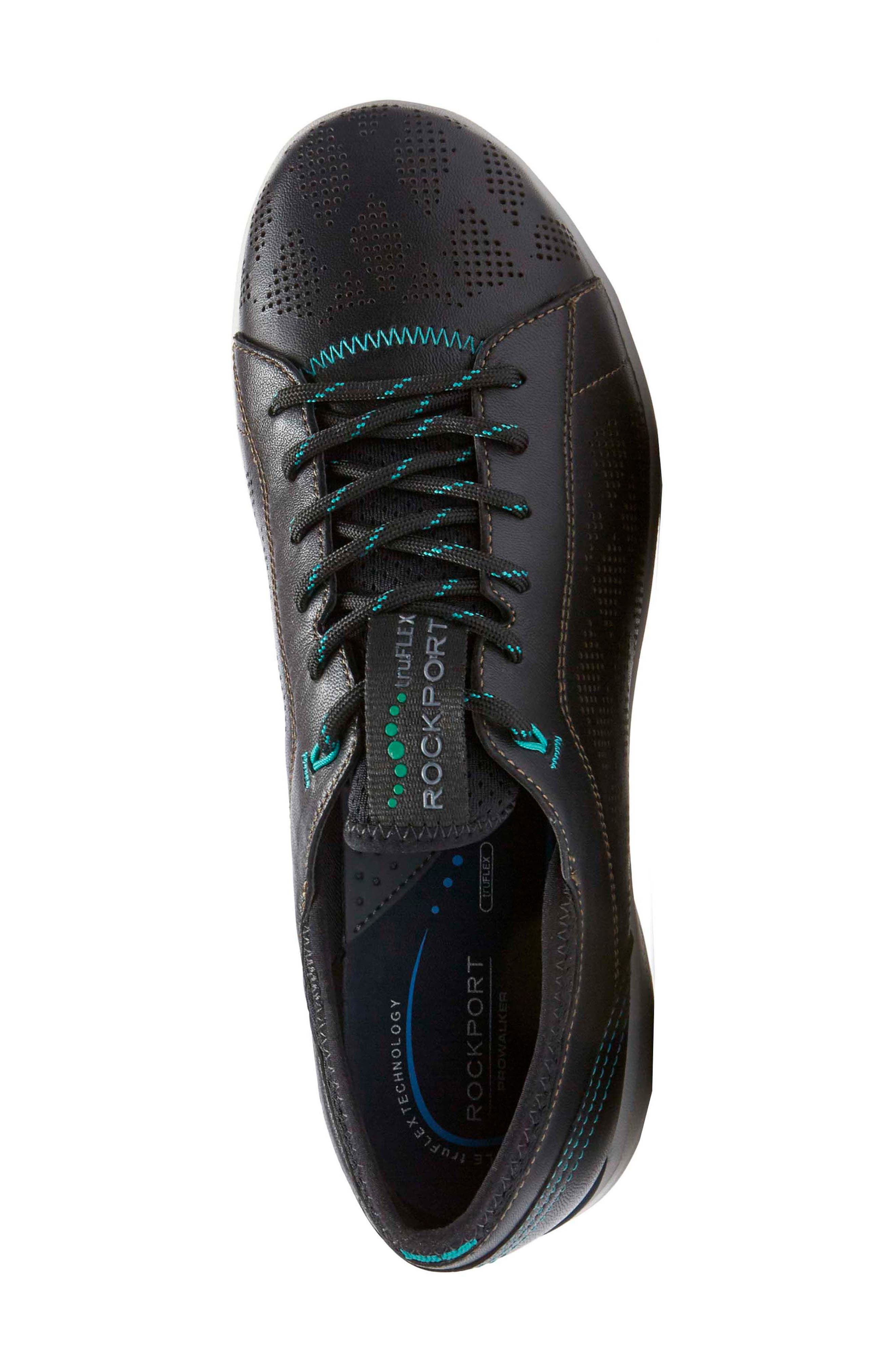 truFLEX Perforated Sneaker,                             Alternate thumbnail 4, color,                             BLACK LEATHER