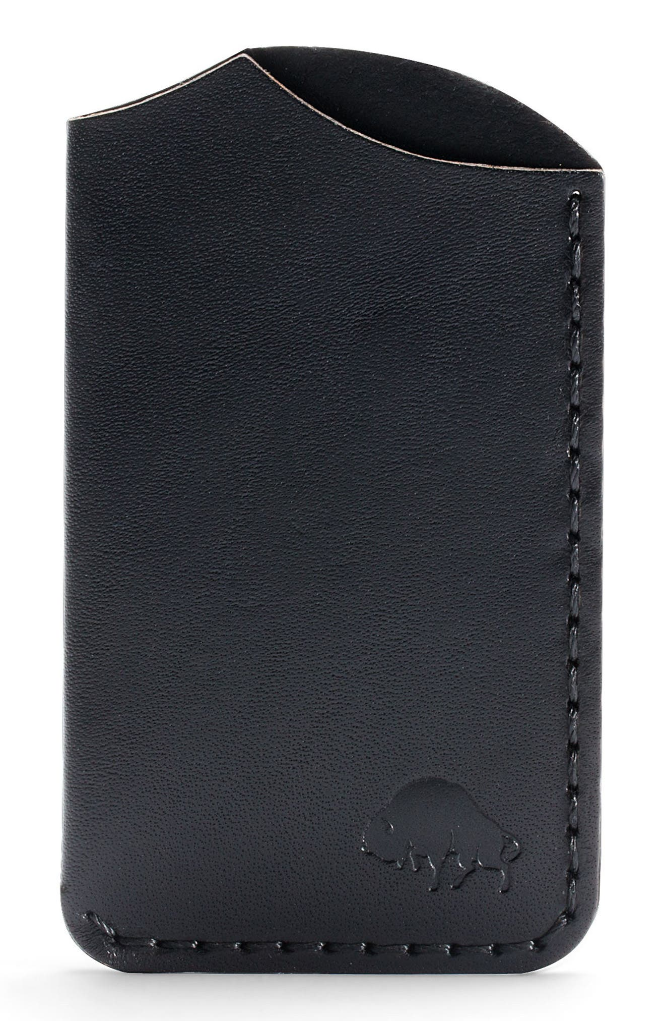 No. 1 Leather Card Case,                             Main thumbnail 1, color,                             JET