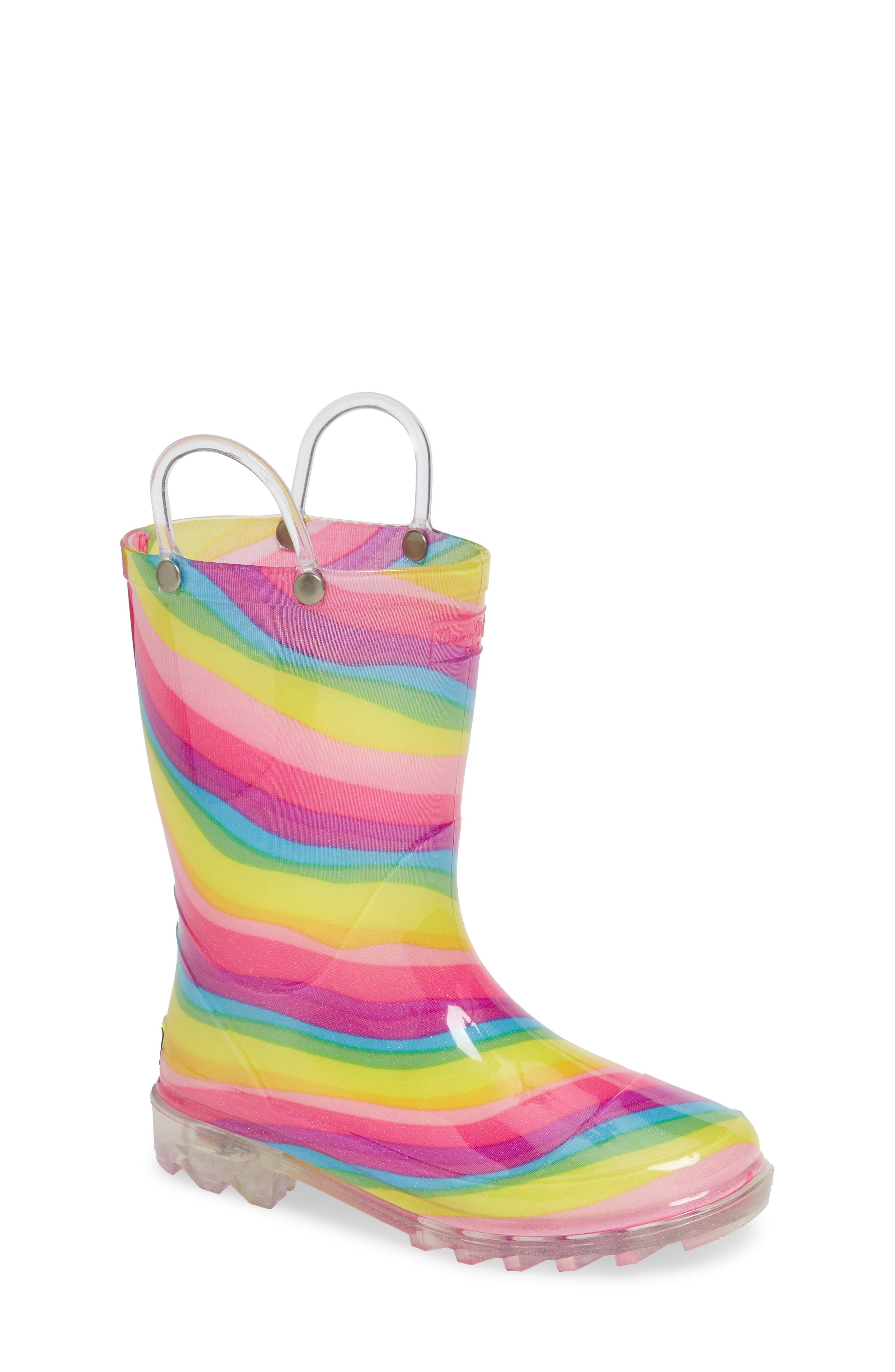 Rainbow Light-Up Waterproof Rain Boot, Main, color, MULTI