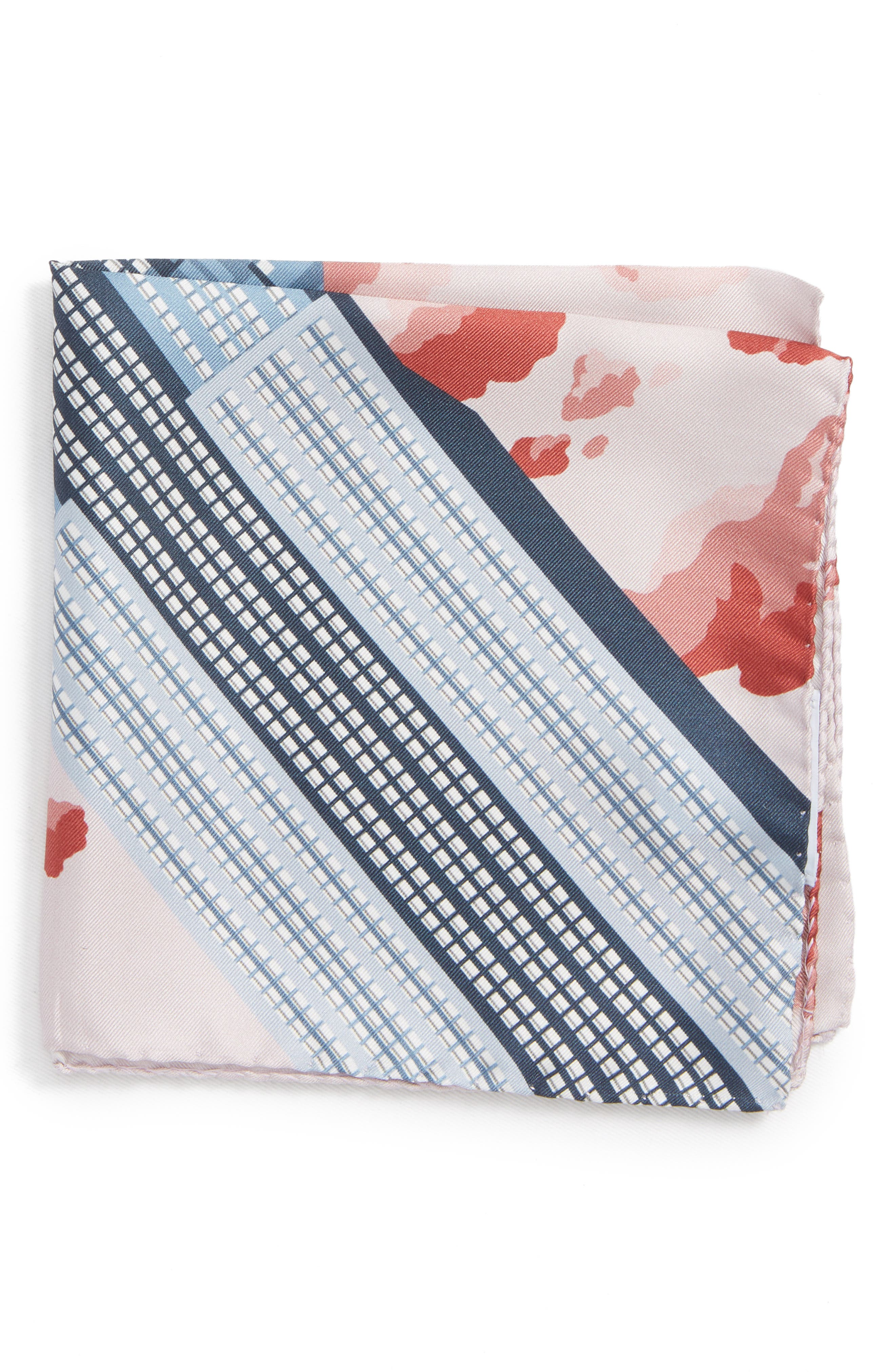 Empire State Building Silk Pocket Square,                             Main thumbnail 1, color,                             BLUE