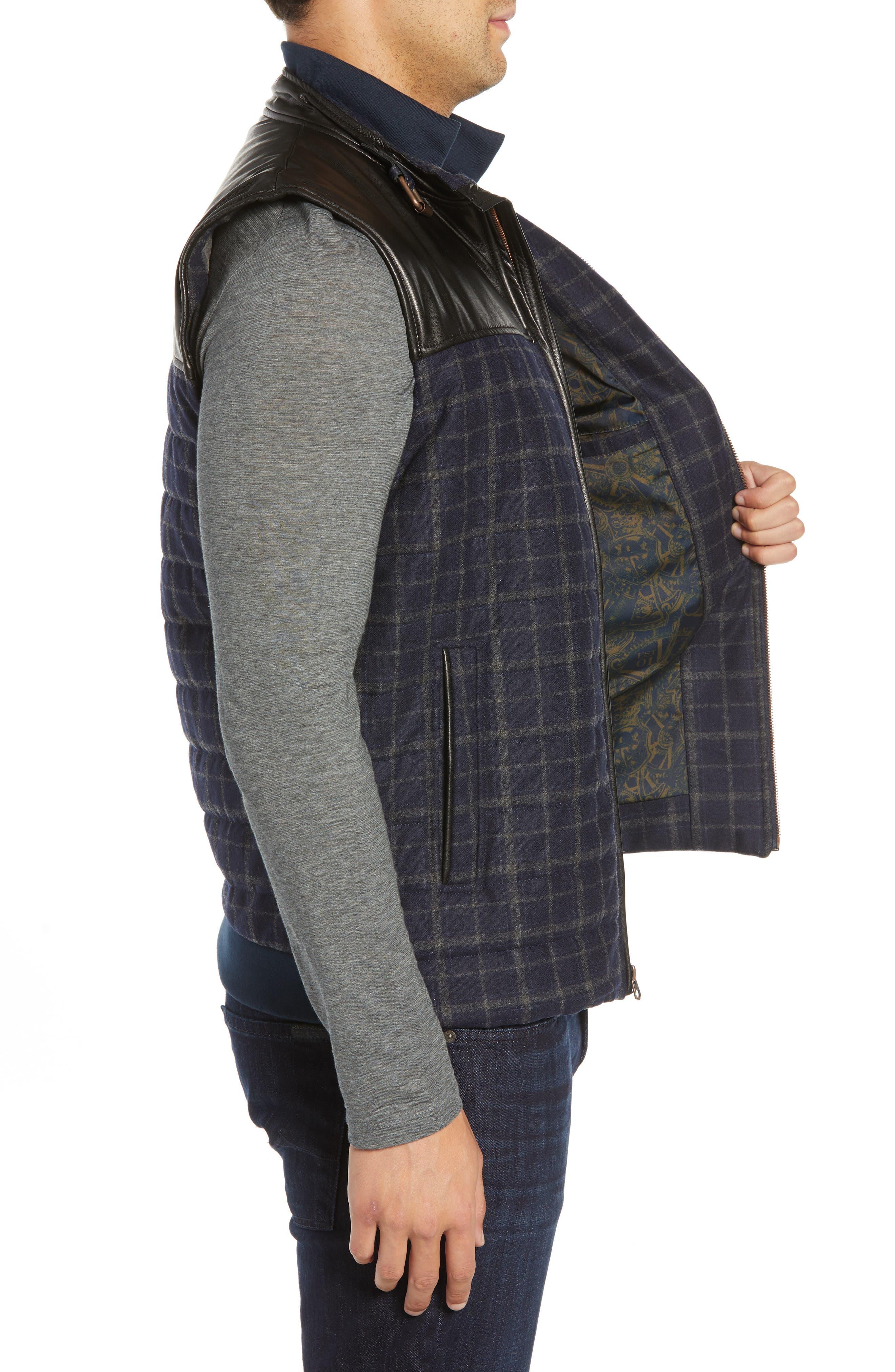 McClement Leather Trim Wool Blend Vest,                             Alternate thumbnail 3, color,                             BLUE