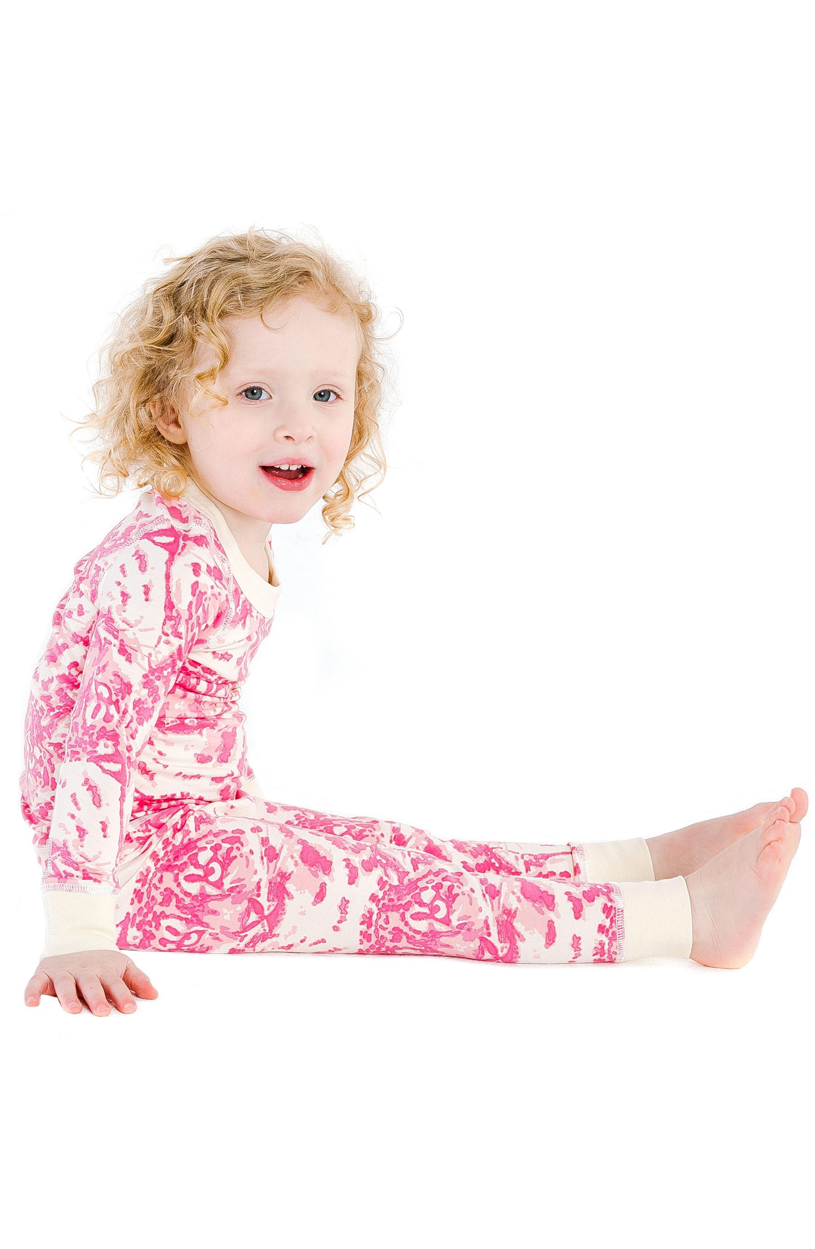 Cat Camo Organic Cotton Fitted Two-Piece Pajamas,                             Alternate thumbnail 3, color,                             AQUA