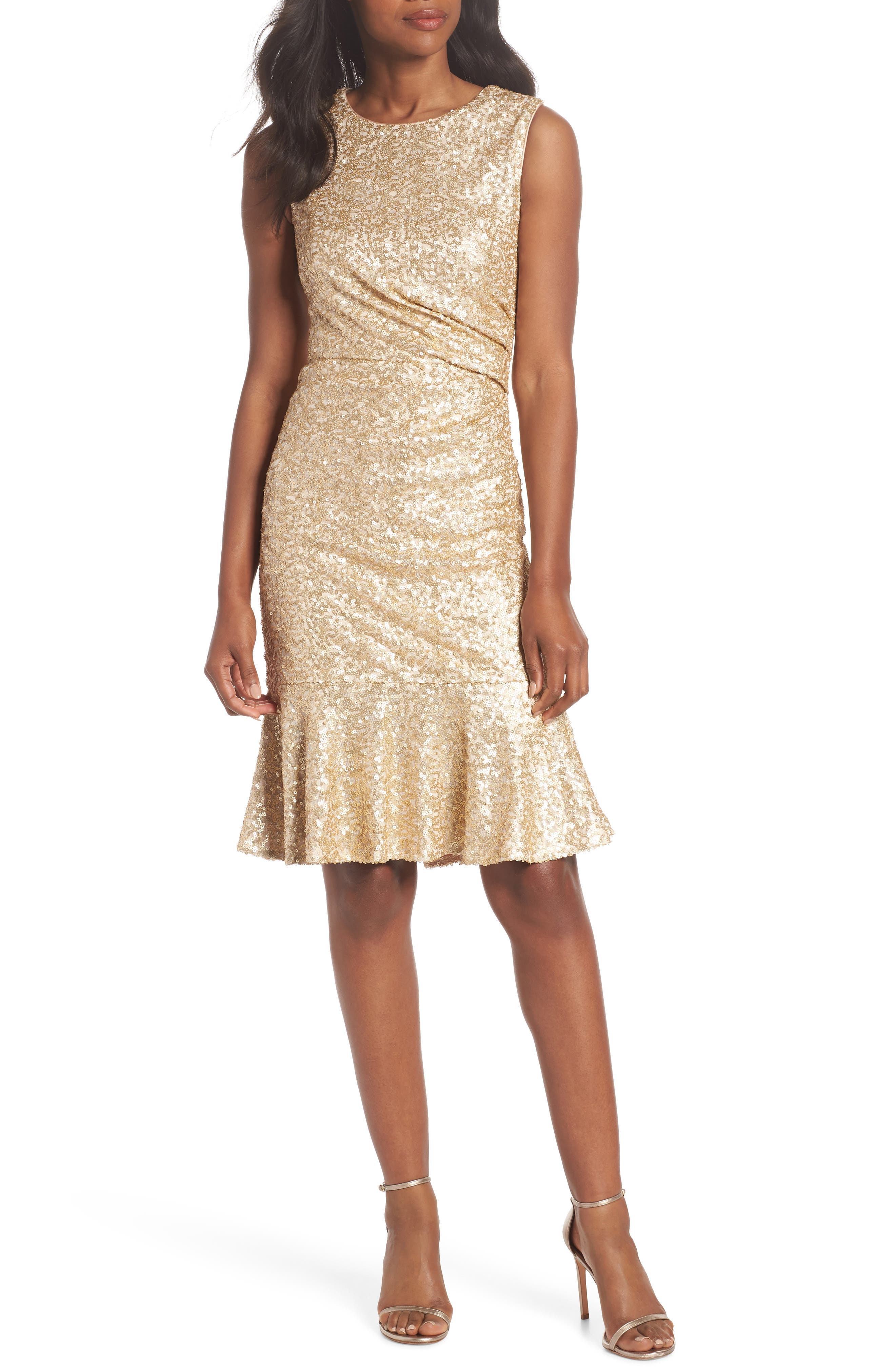 Sequin Ruffle Hem Sheath Dress, Main, color, 710