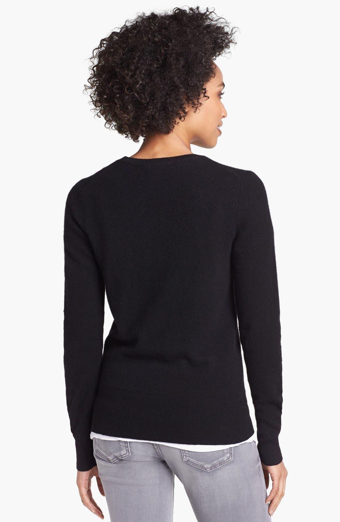 HALOGEN<SUP>®</SUP>,                             V-Neck Cashmere Sweater,                             Alternate thumbnail 3, color,                             001