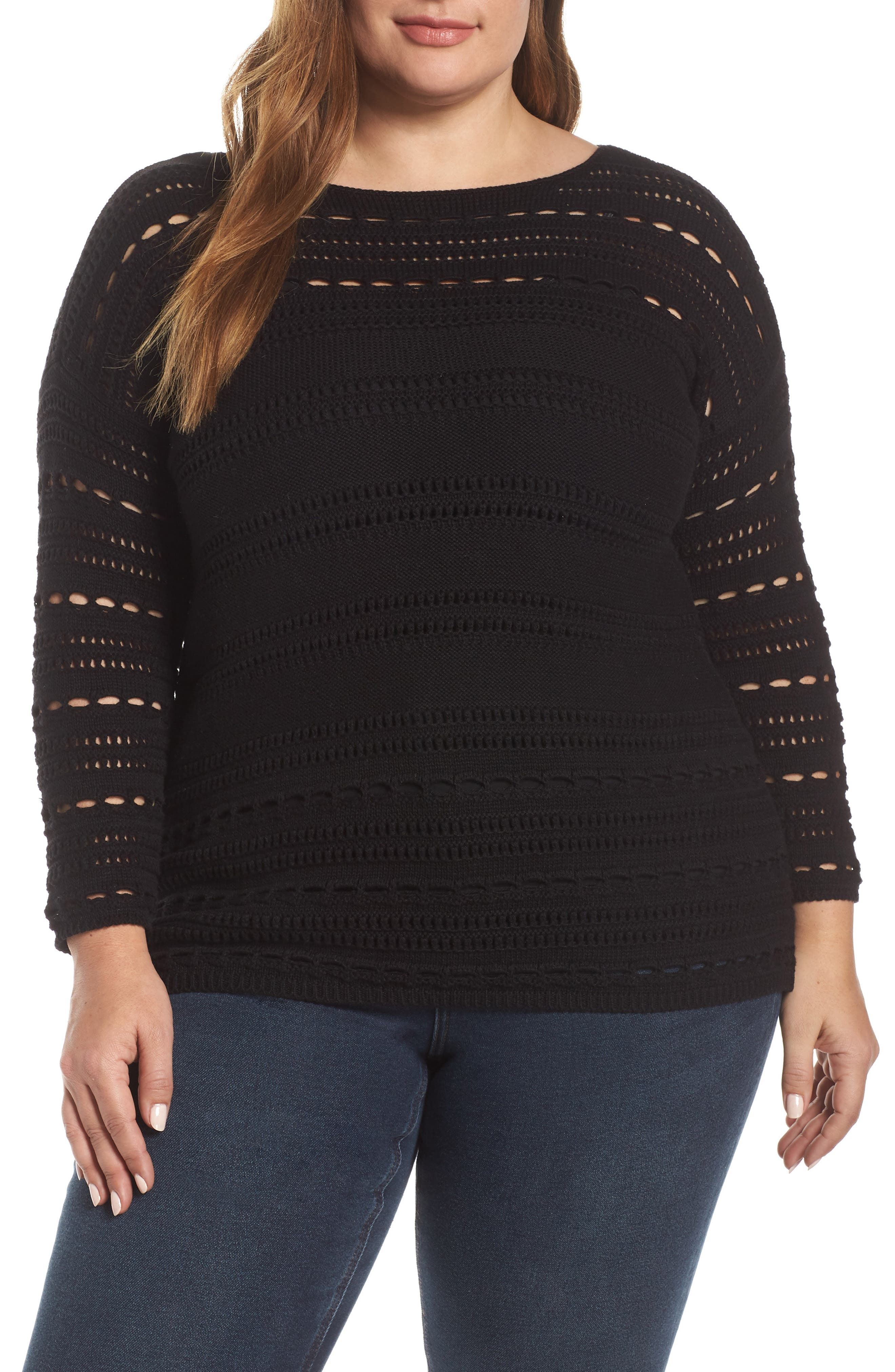 Open Stitch Cotton Sweater, Main, color, RICH BLACK