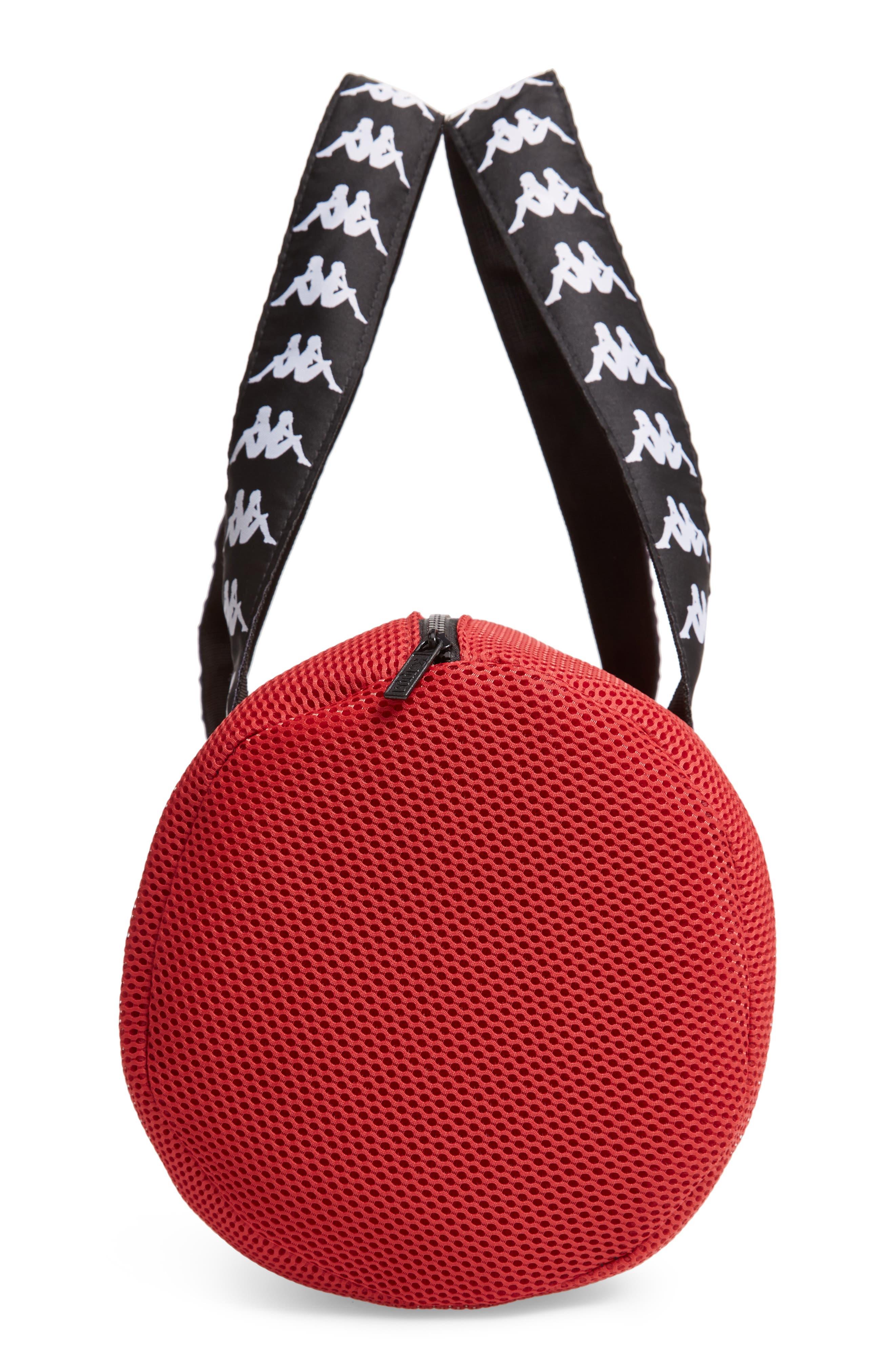 Large Mesh Athletic Duffel Bag,                             Alternate thumbnail 5, color,                             RED DK-BLACK-WHITE