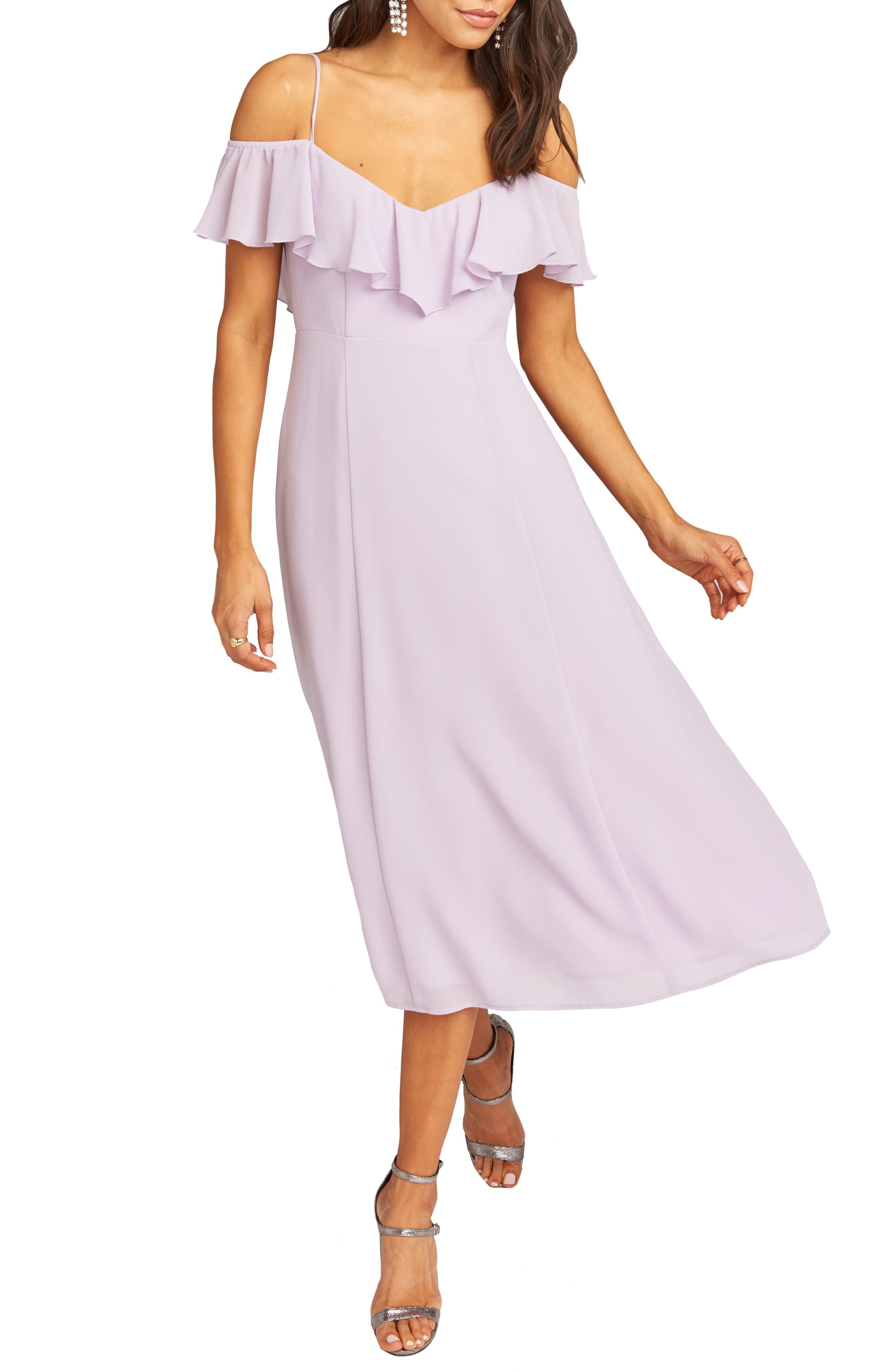Show Me Your Mumu Camilla Ruffle Neck Tea Length Dress, Purple