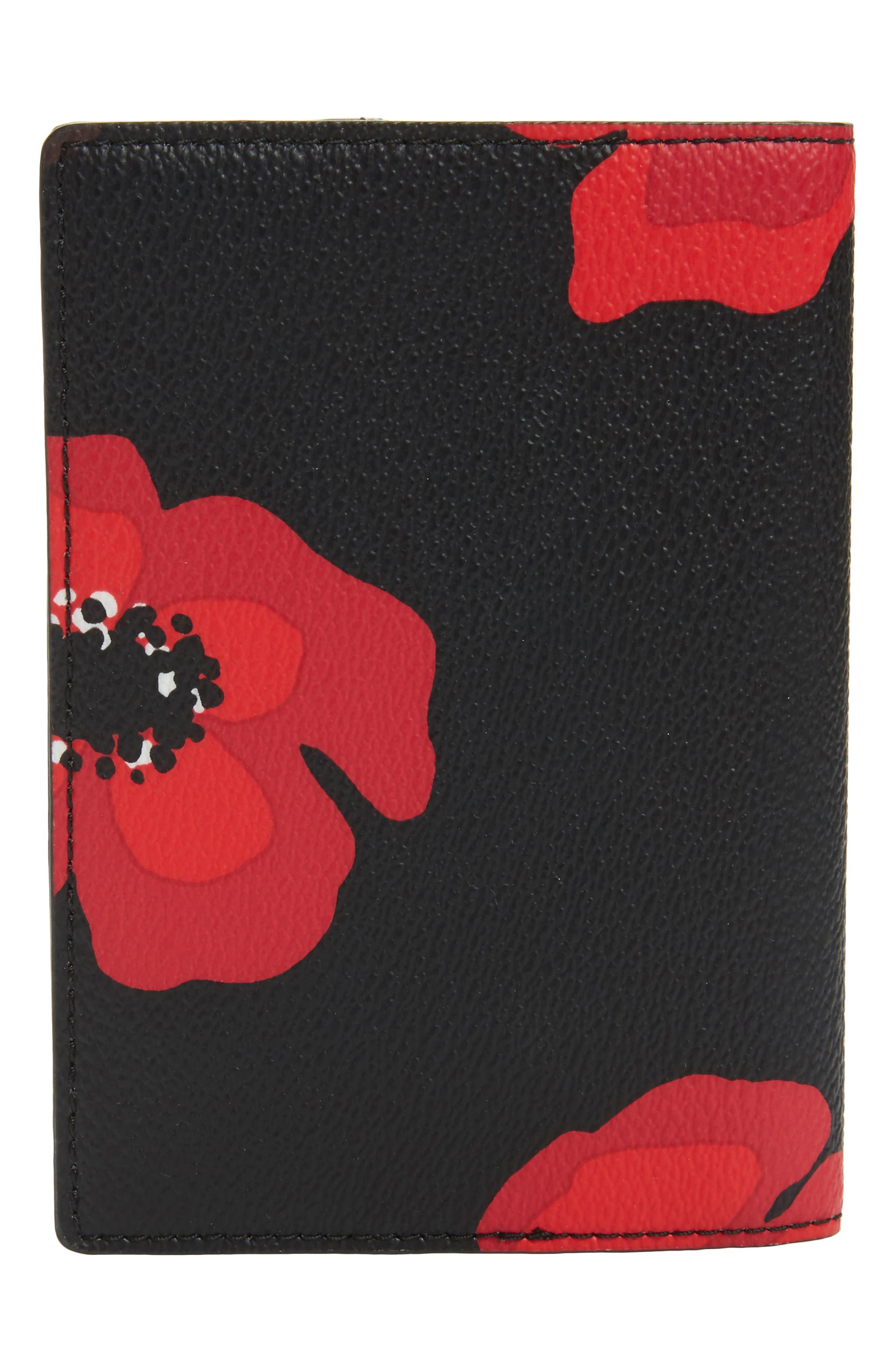 hyde lane - poppy leather passport holder,                             Alternate thumbnail 4, color,                             001