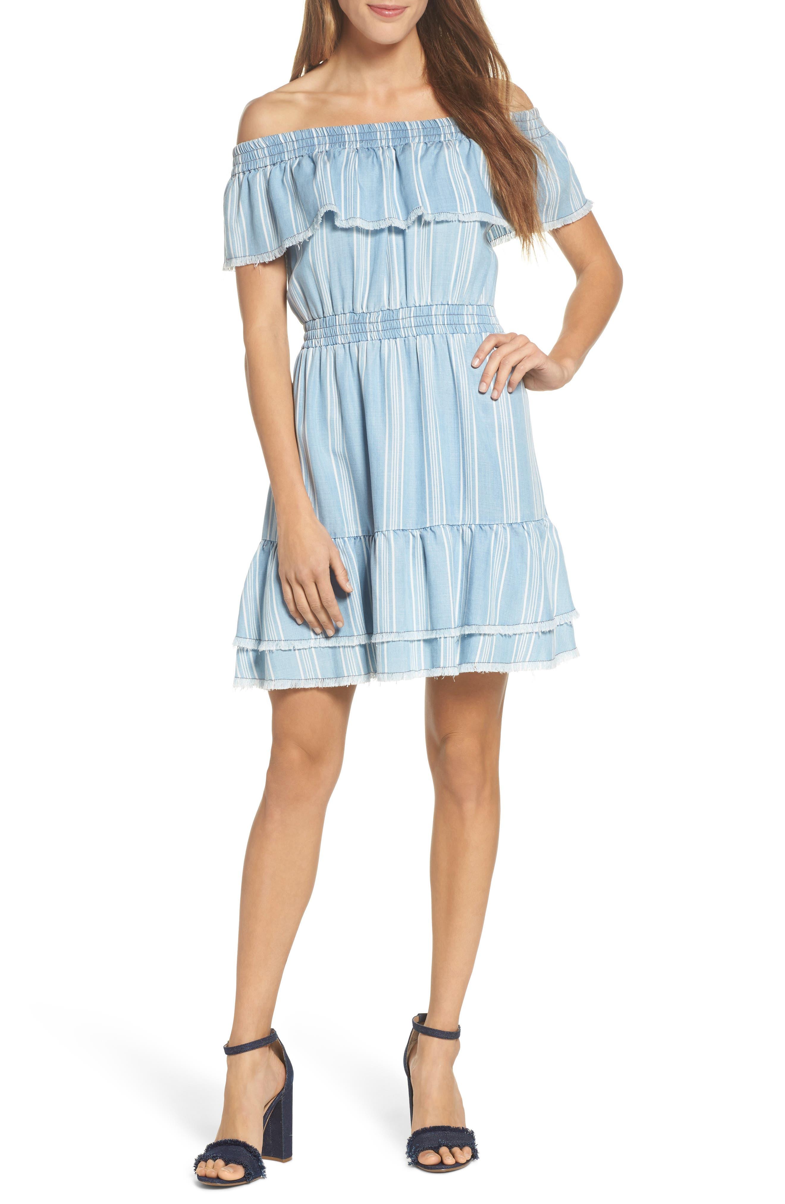 Bb Dakota Coco Stripe Off The Shoulder Ruffle Dress, Blue