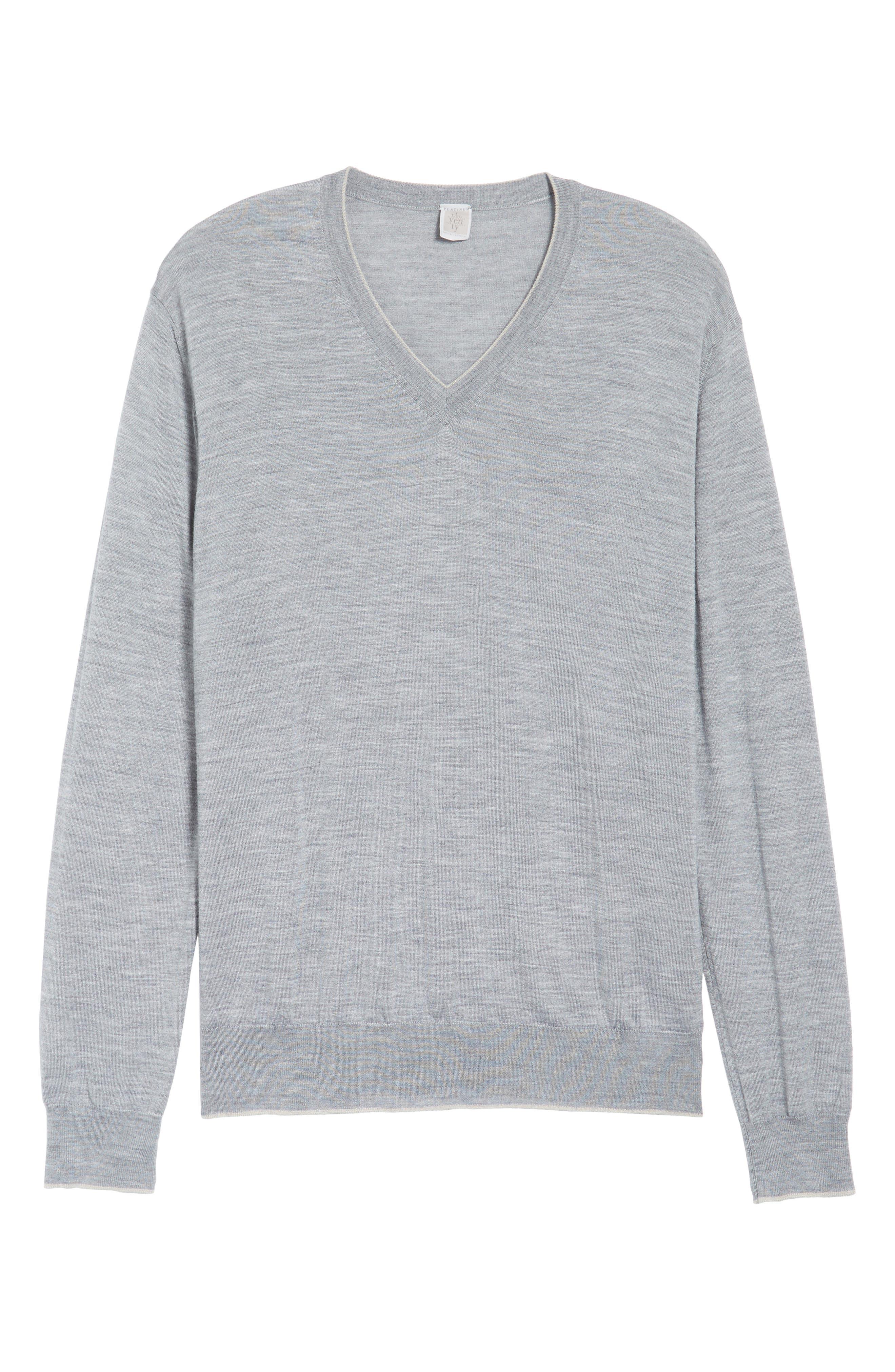 Merino Wool & Silk Tipped Sweater,                             Alternate thumbnail 6, color,                             LIGHT GREY