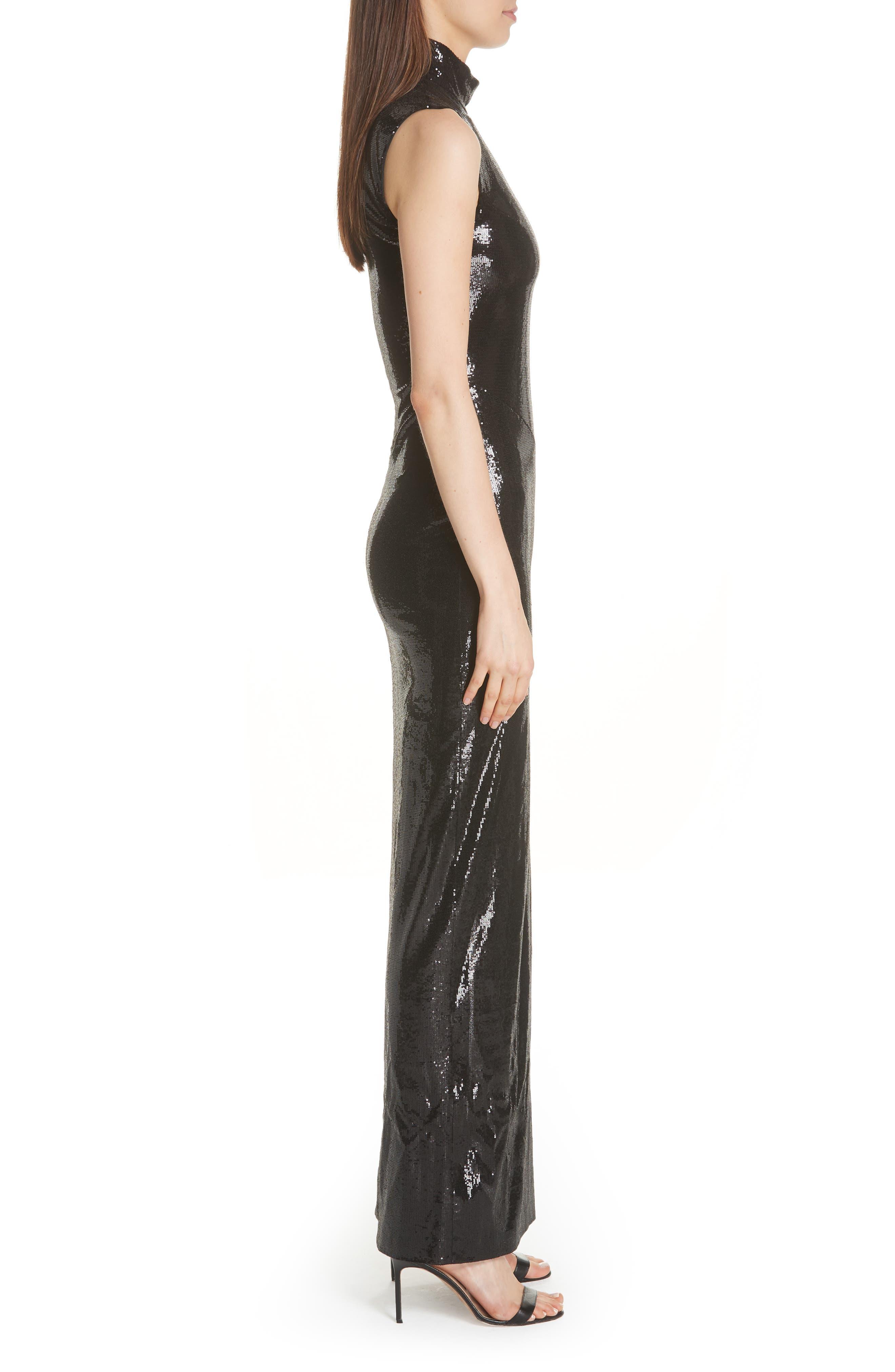 GALVAN,                             Turtleneck Sequin Gown,                             Alternate thumbnail 4, color,                             BLACK