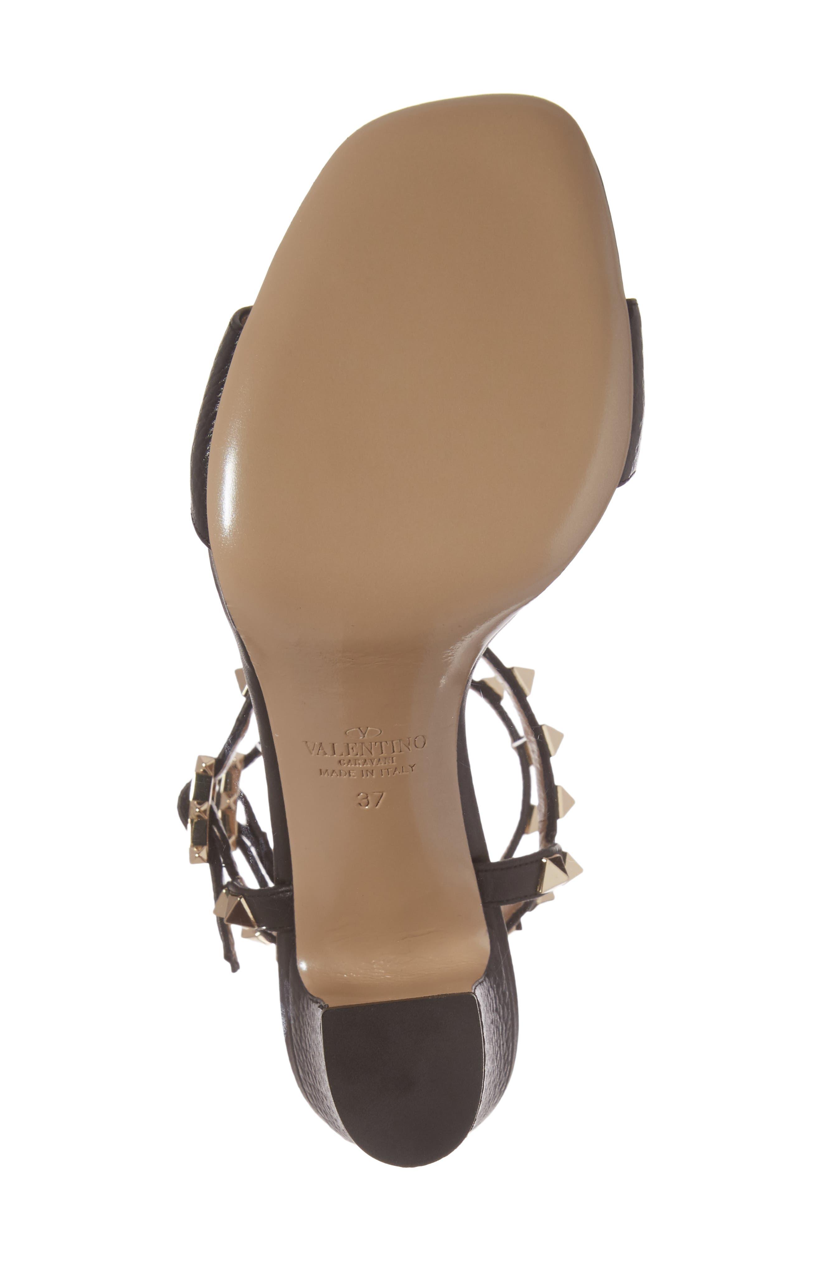 Rockstud Ankle Strap Sandal,                             Alternate thumbnail 6, color,                             BLACK