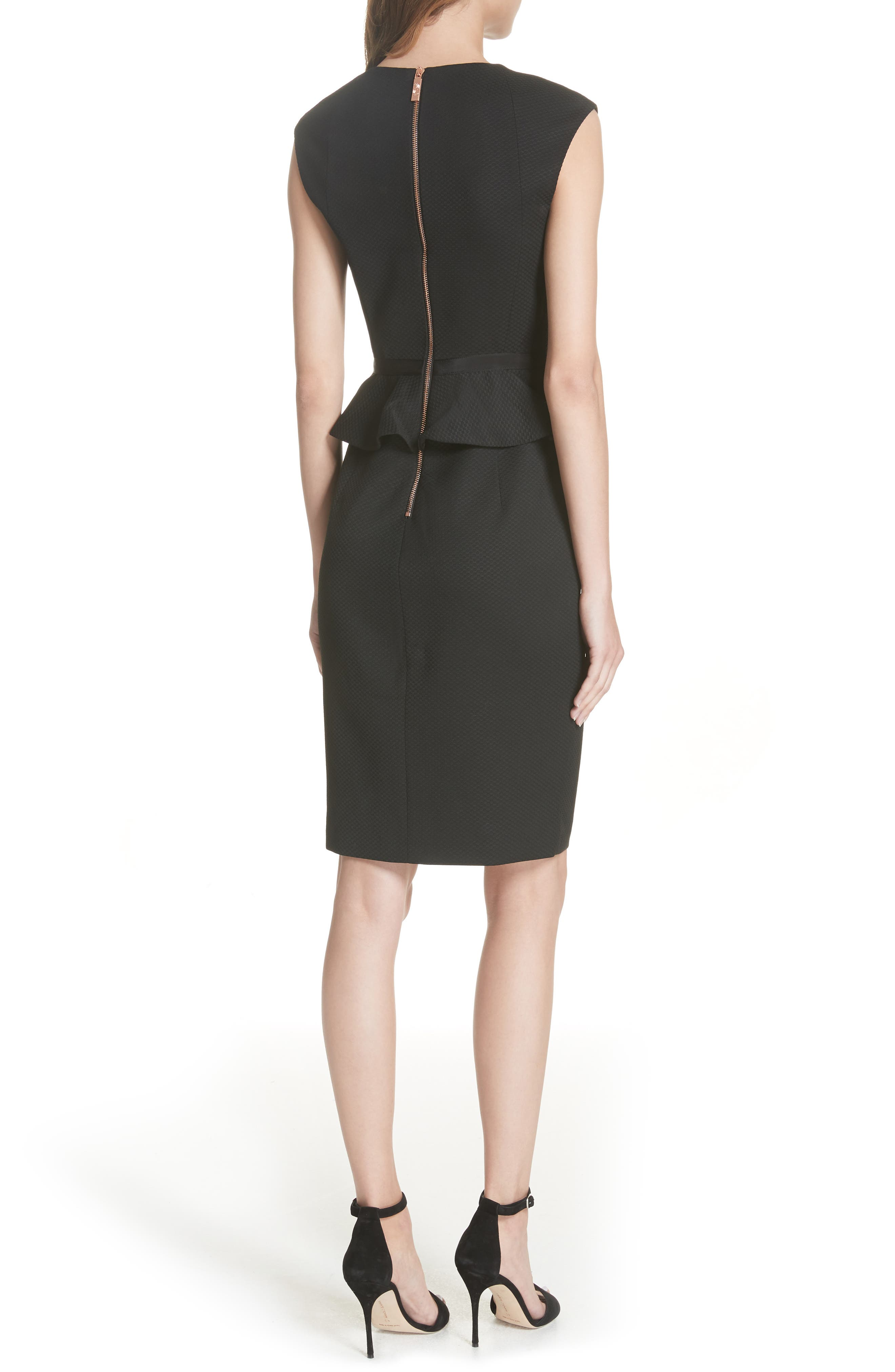 Ted Working Title Textured Peplum Dress,                             Alternate thumbnail 2, color,                             BLACK