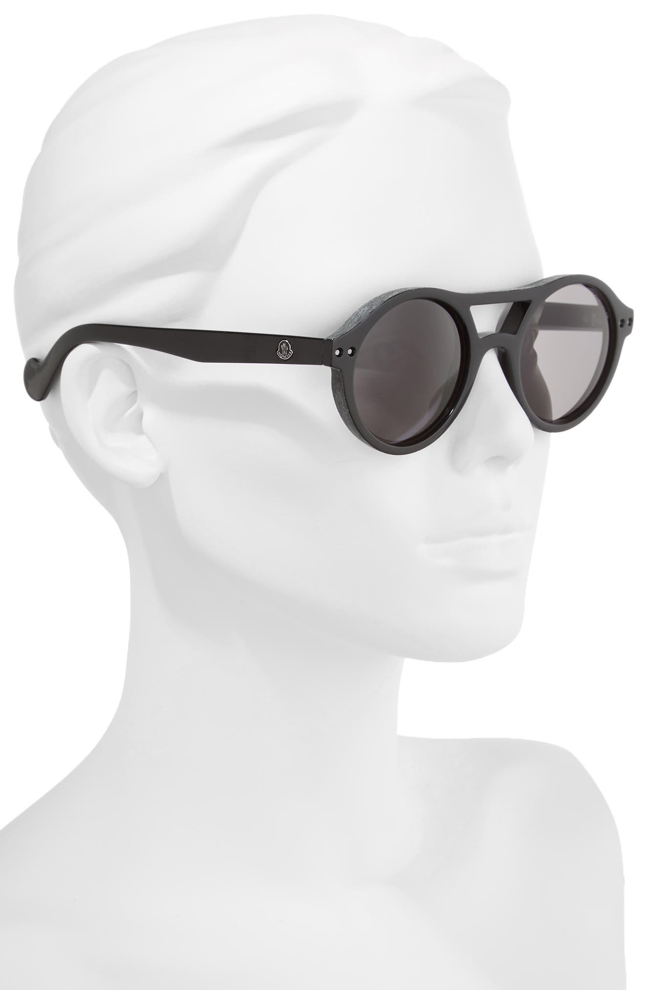 51mm Round Sunglasses,                             Alternate thumbnail 2, color,                             BLACK/ SMOKE