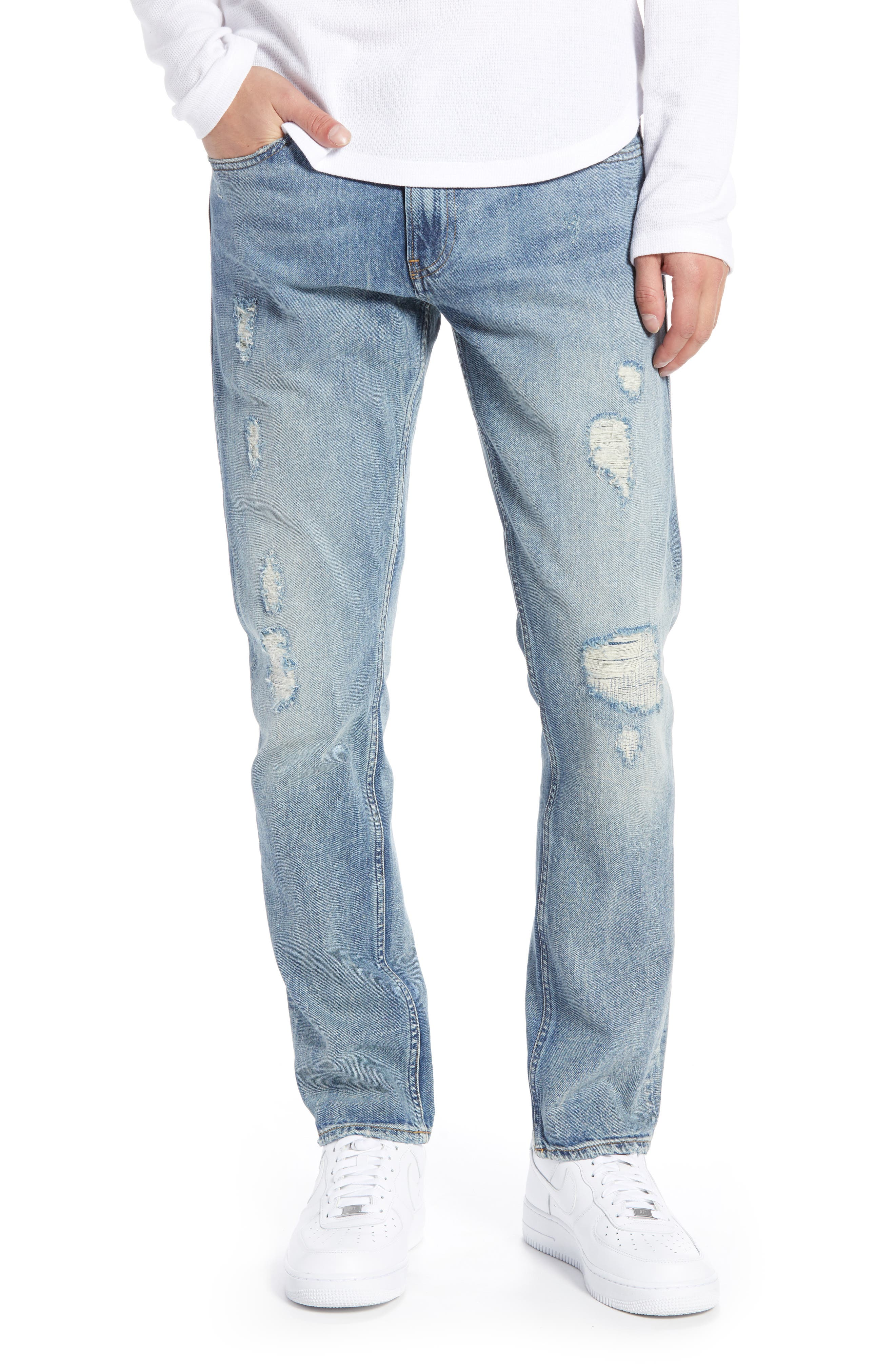 Destroyed Slim Fit Jeans,                             Main thumbnail 1, color,                             400