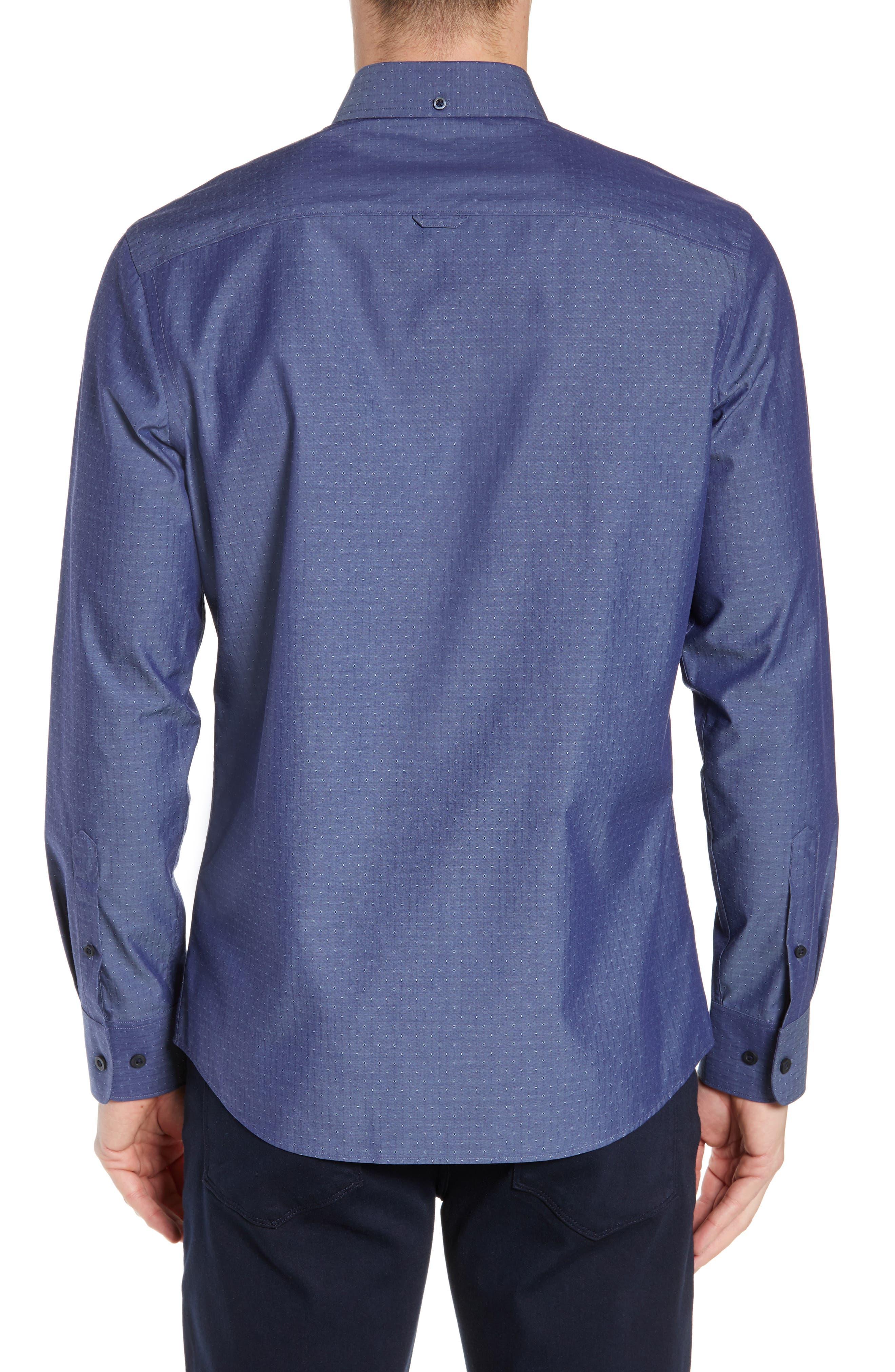 NORDSTROM MEN'S SHOP,                             Regular Fit Non-Iron Dobby Sport Shirt,                             Alternate thumbnail 3, color,                             NAVY PEACOAT DIAMOND DOBBY