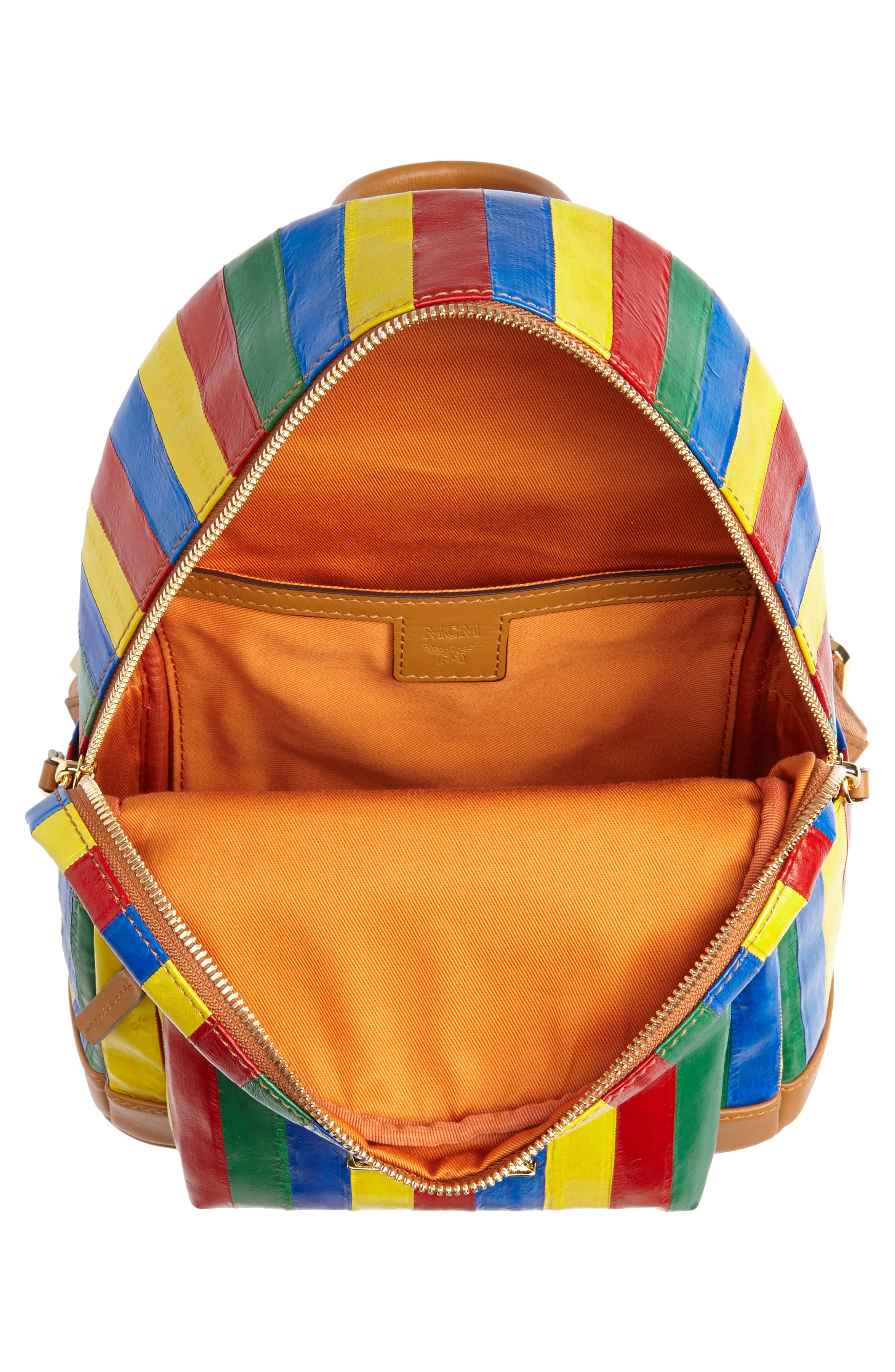 Mini Leather Backpack,                             Alternate thumbnail 4, color,                             MULTI