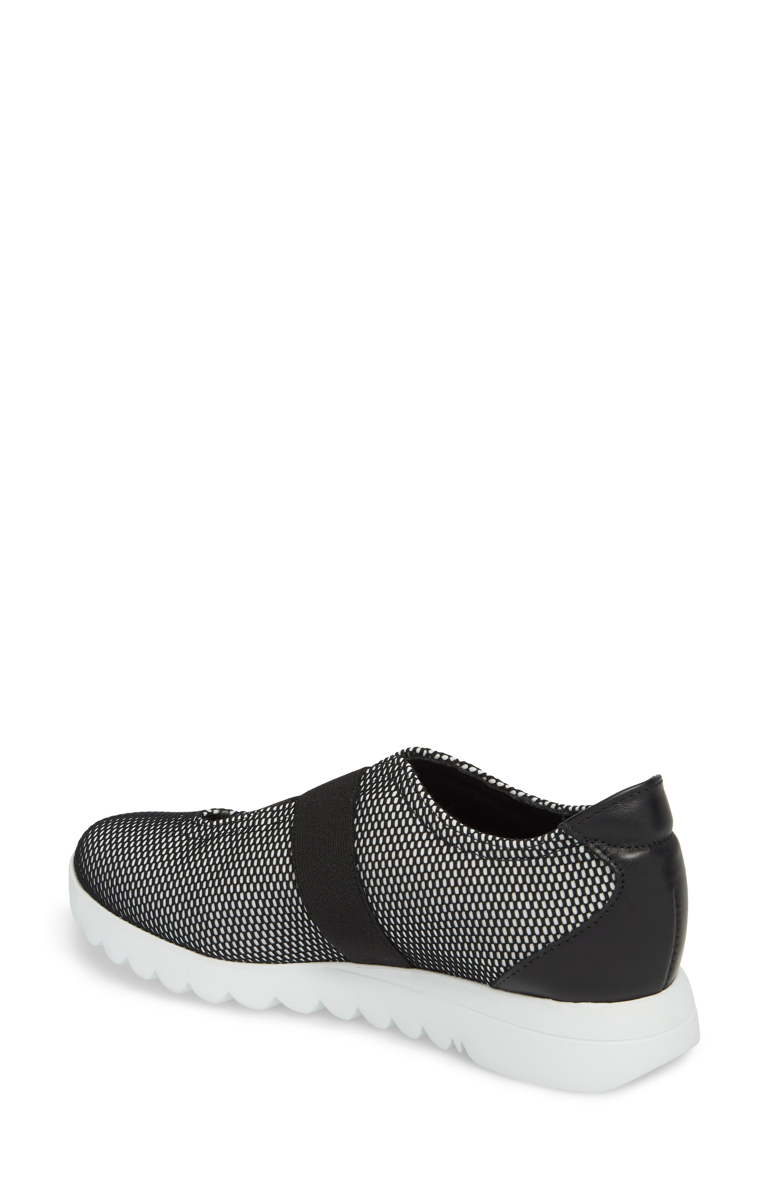 Alta Slip-On Sneaker,                             Alternate thumbnail 2, color,                             BLACK/ WHITE FABRIC