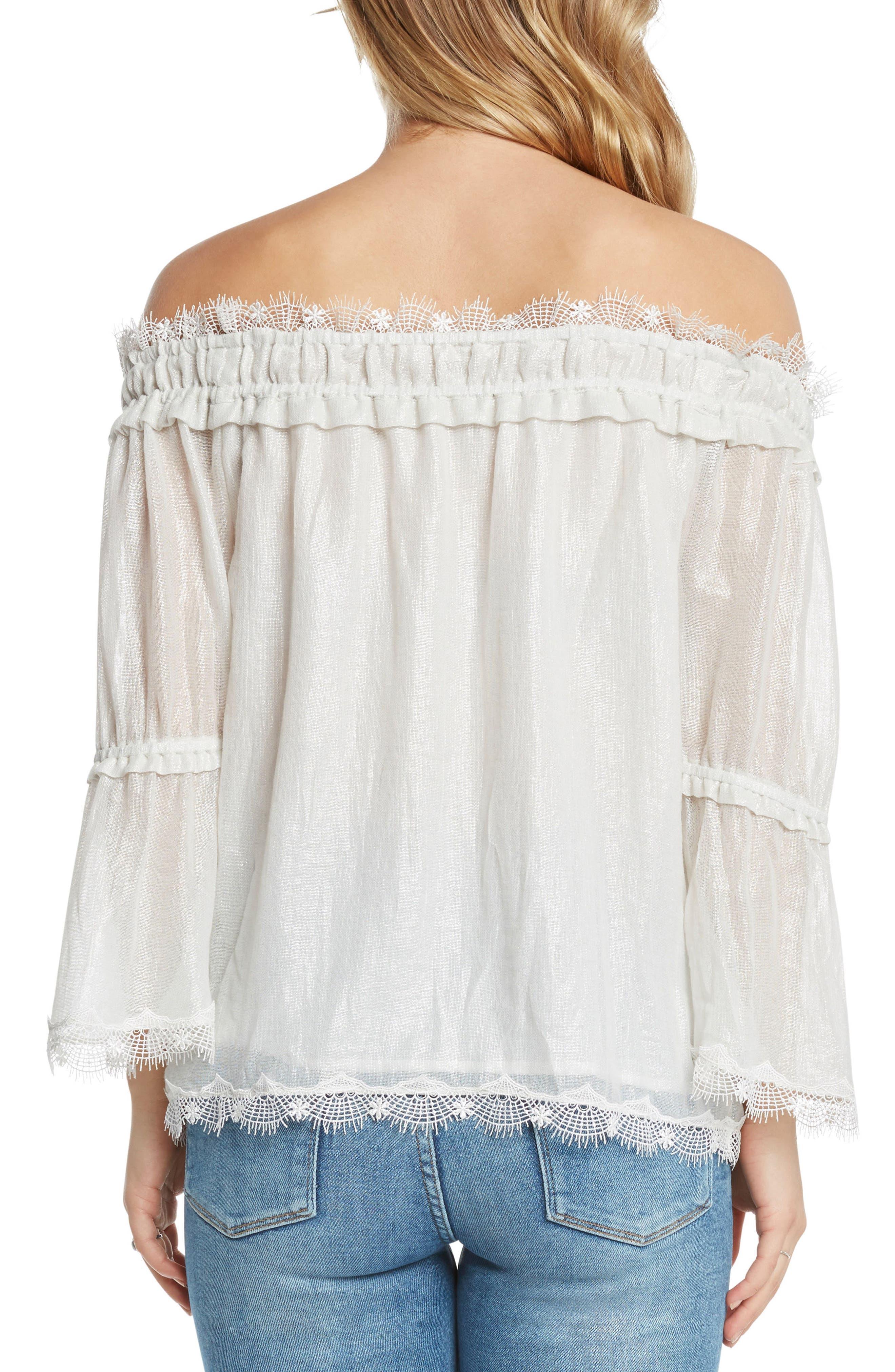 Lace Trim Foil Off the Shoulder Top,                             Alternate thumbnail 2, color,