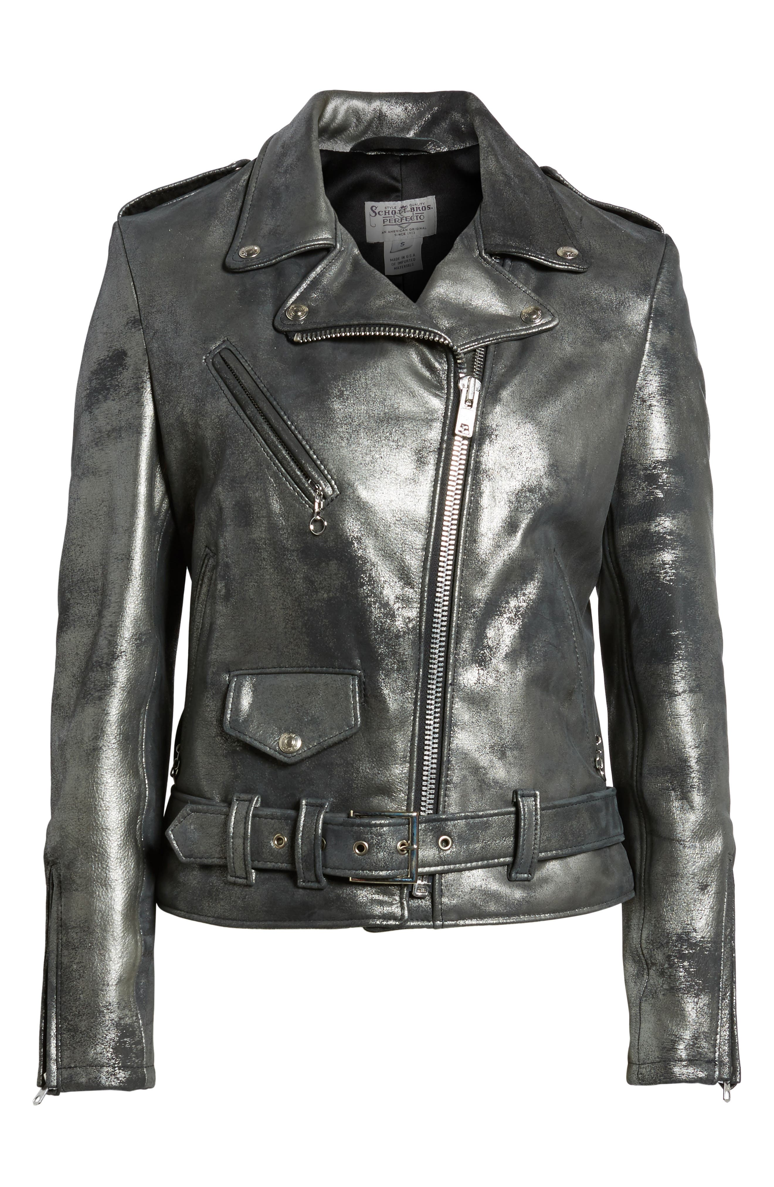 Perfecto Distressed Leather Boyfriend Jacket,                             Alternate thumbnail 13, color,