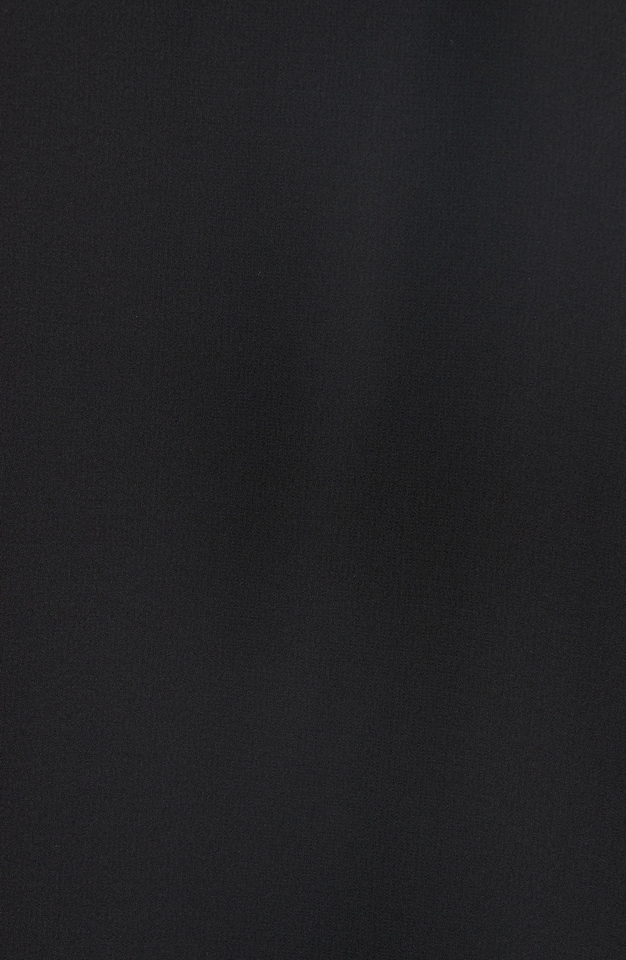 Slit Sleeve Silk Top,                             Alternate thumbnail 5, color,                             BLACK