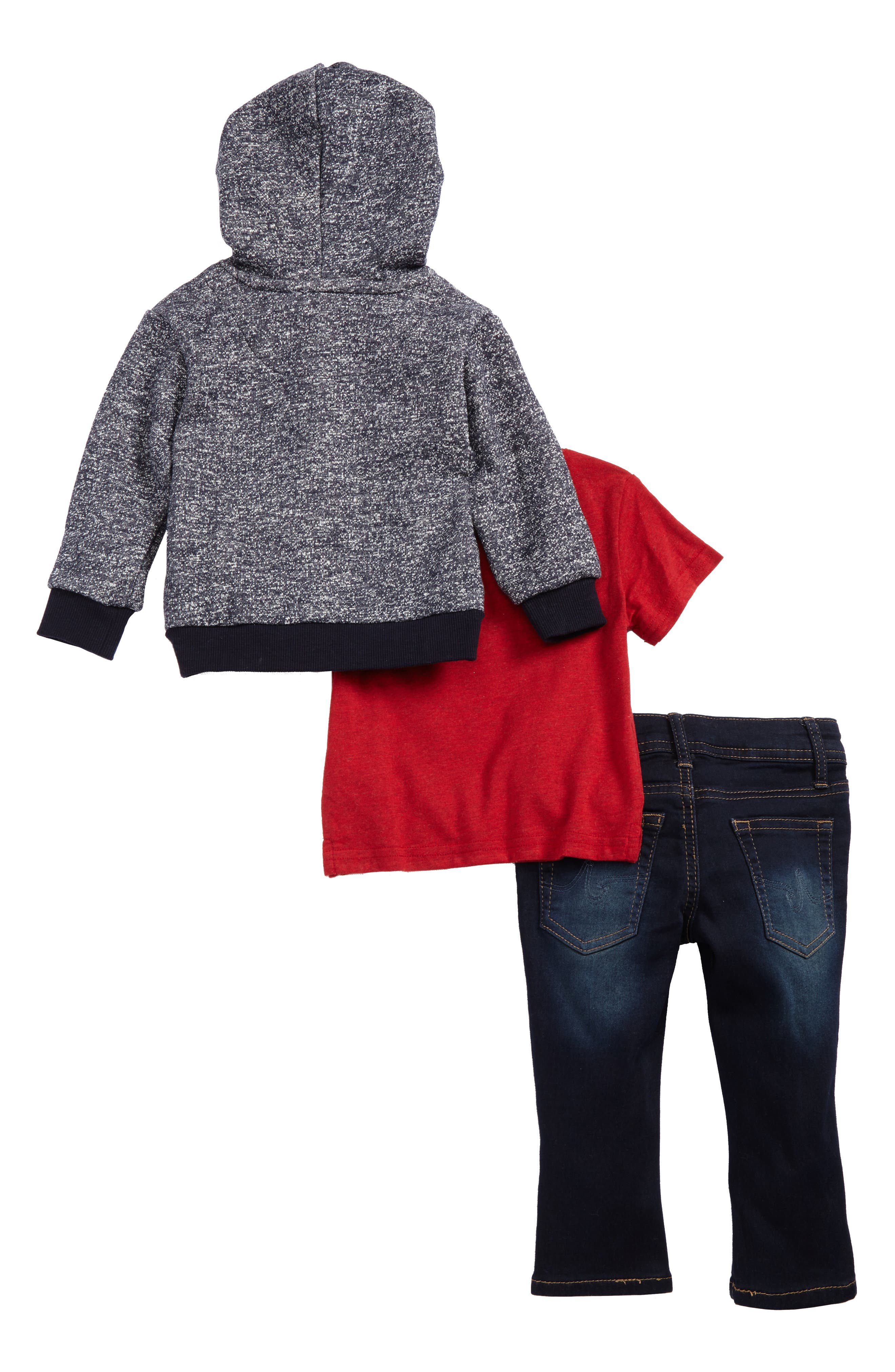 French Terry Hoodie, T-Shirt & Jeans Set,                             Alternate thumbnail 2, color,                             466