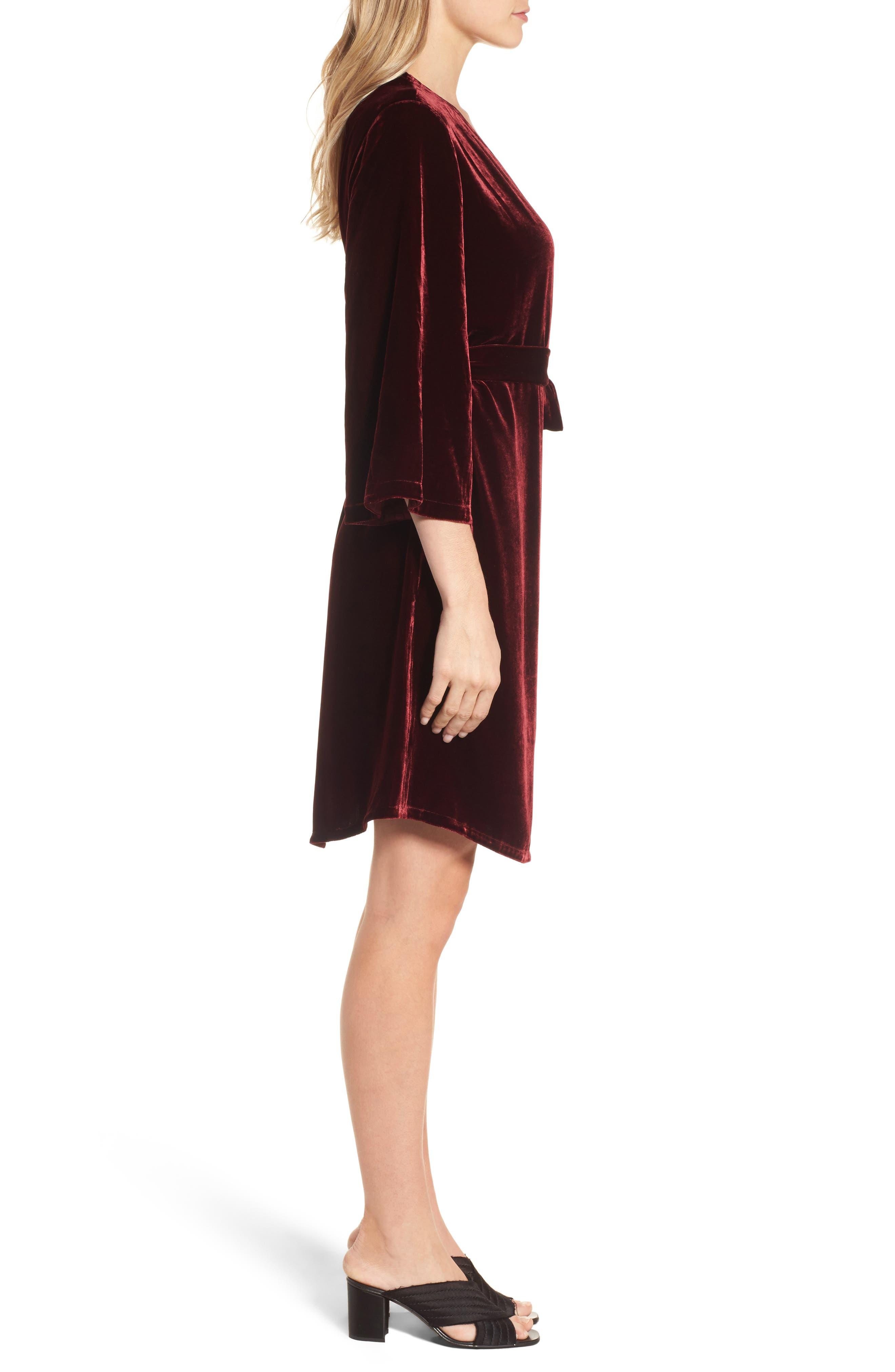 Velvet Wrap Dress,                             Alternate thumbnail 9, color,