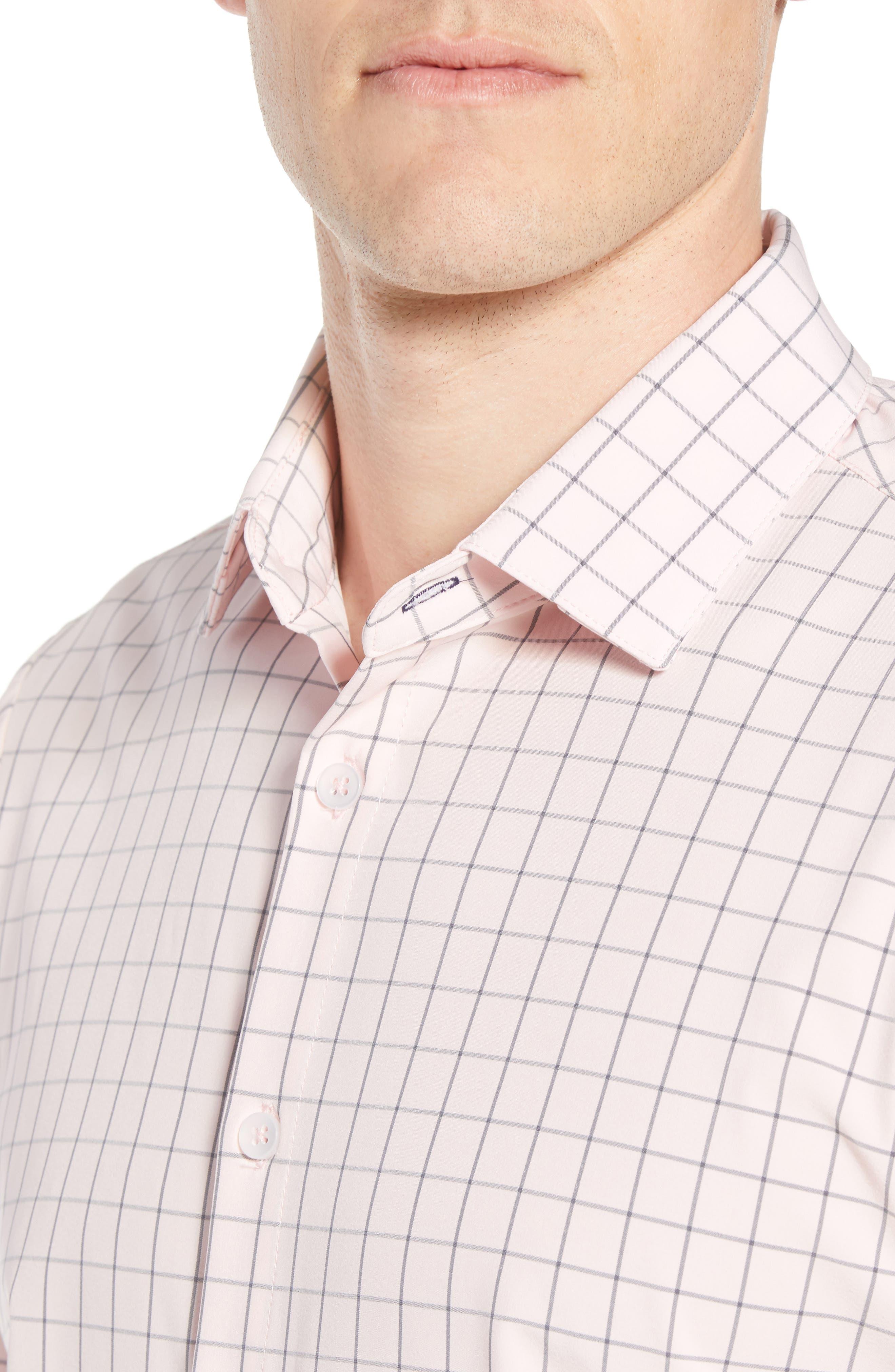 MIZZEN+MAIN,                             Andrews Slim Fit Windowpane Performance Sport Shirt,                             Alternate thumbnail 4, color,                             673