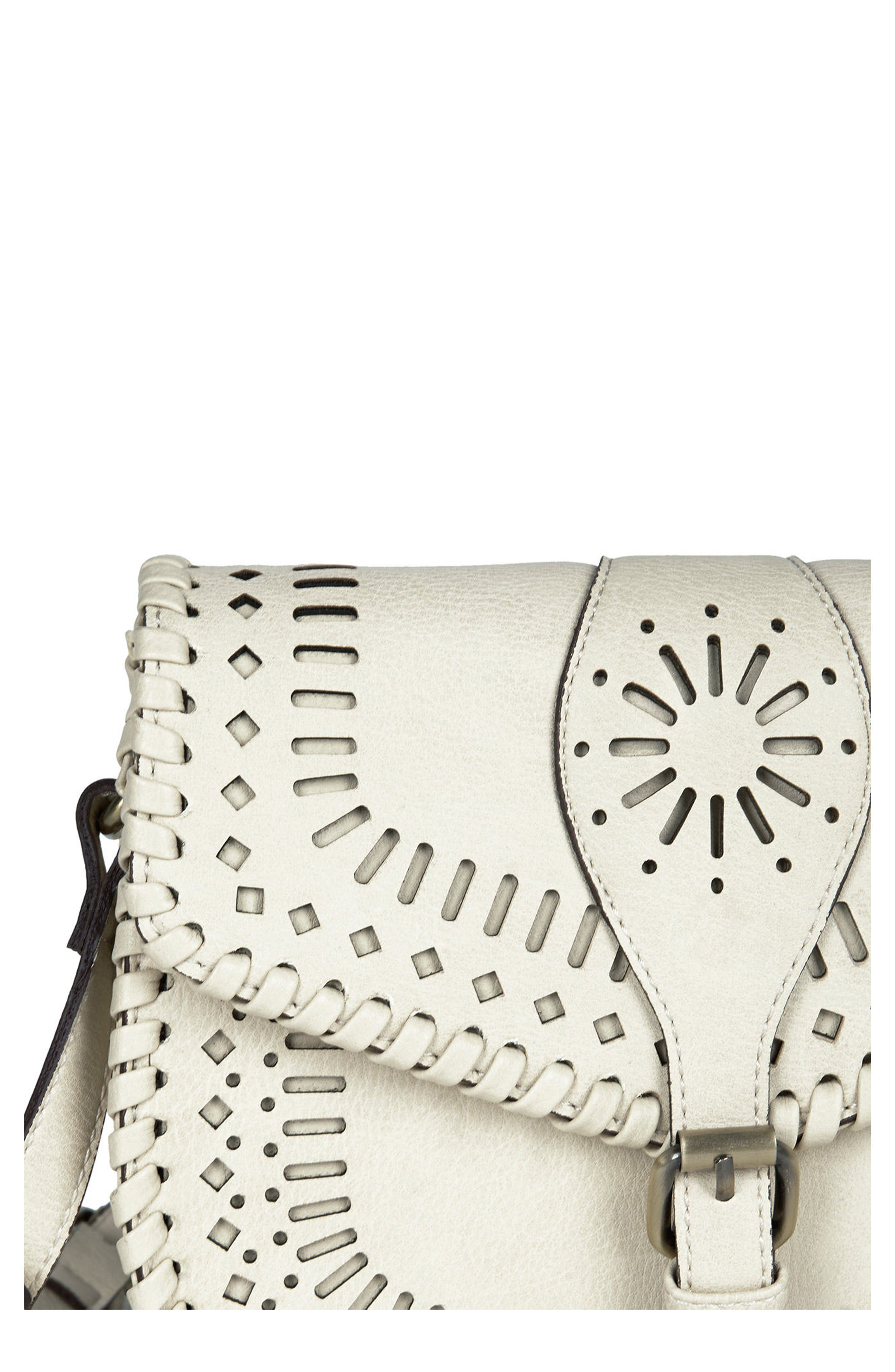 'Kianna' Perforated Faux Leather Crossbody Bag,                             Alternate thumbnail 6, color,