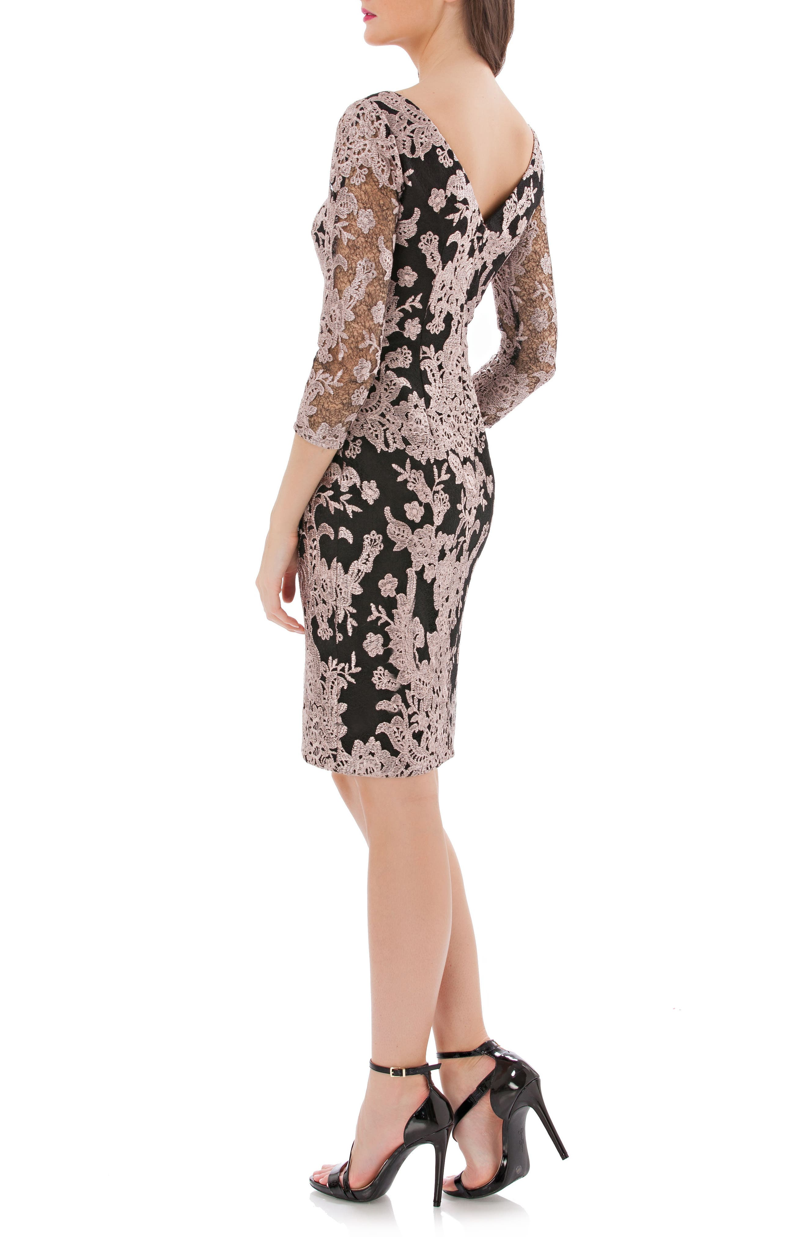 Embroidered Lace Cocktail Dress,                             Alternate thumbnail 2, color,                             015