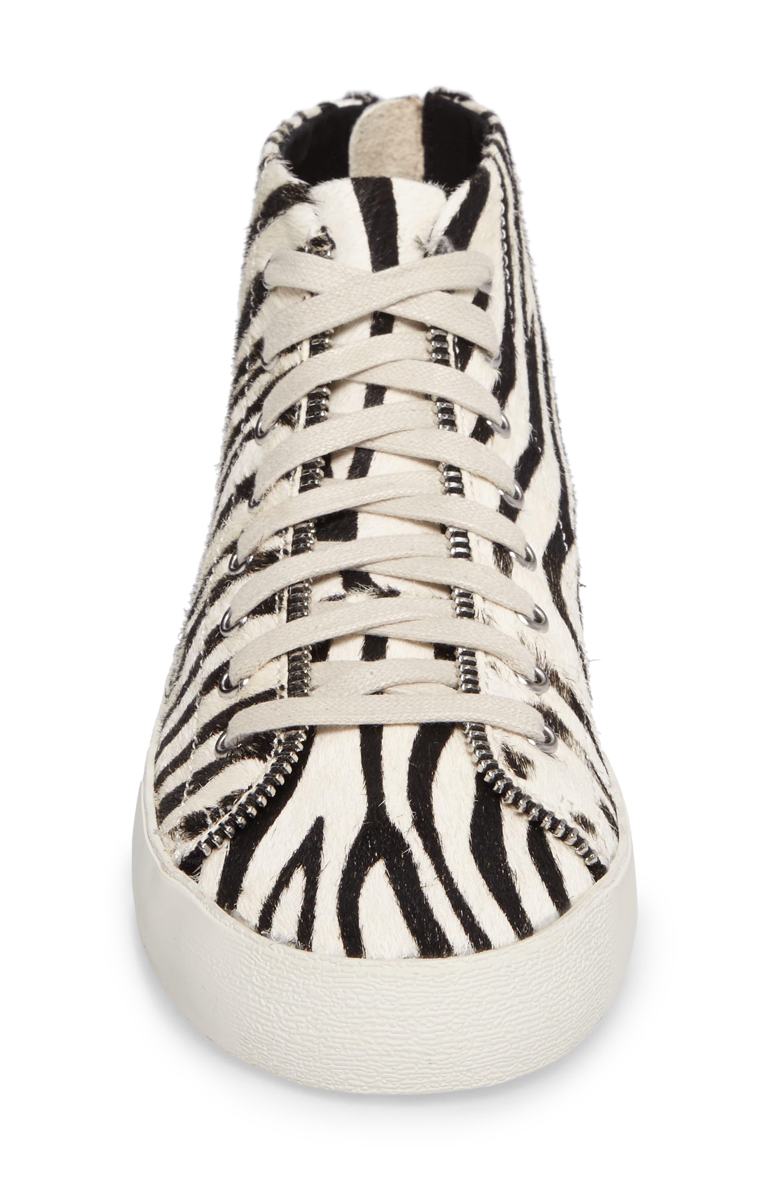 Zaina Too Genuine Calf Hair Sneaker,                             Alternate thumbnail 4, color,                             100