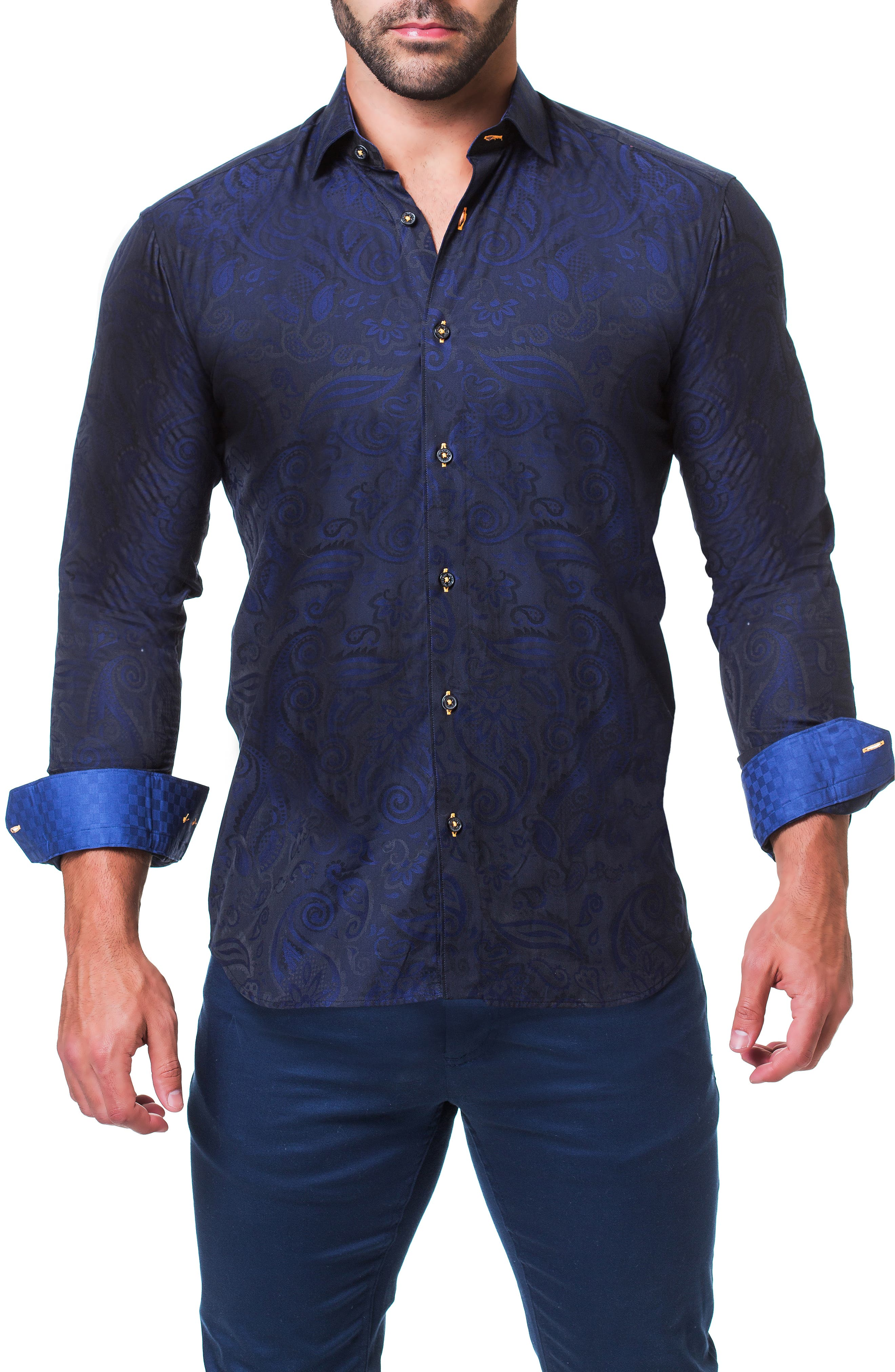 Fibonacci Paisley Trim Fit Sport Shirt,                             Alternate thumbnail 4, color,                             BLUE