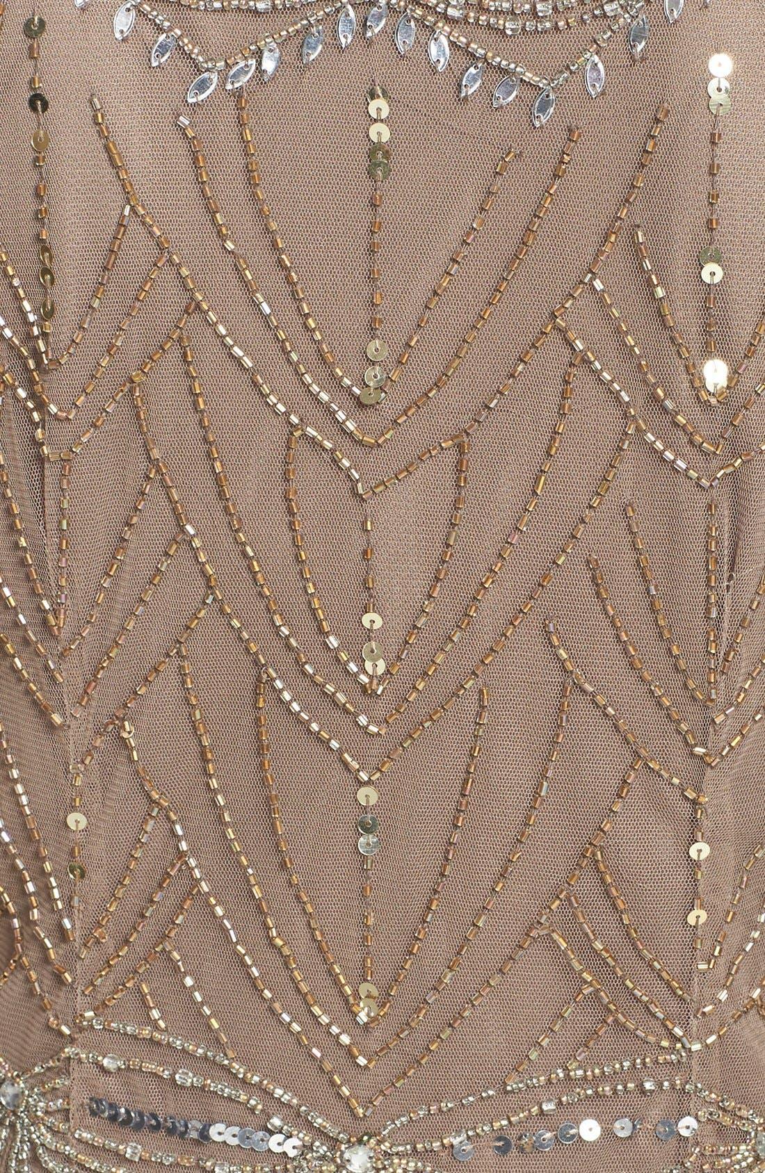 Beaded Mesh Cocktail Dress,                             Alternate thumbnail 5, color,