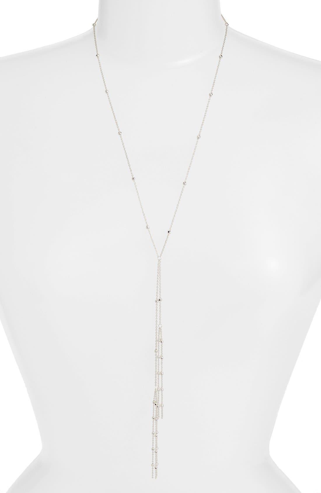Long Tassel Y-Necklace,                             Alternate thumbnail 2, color,                             SILVER