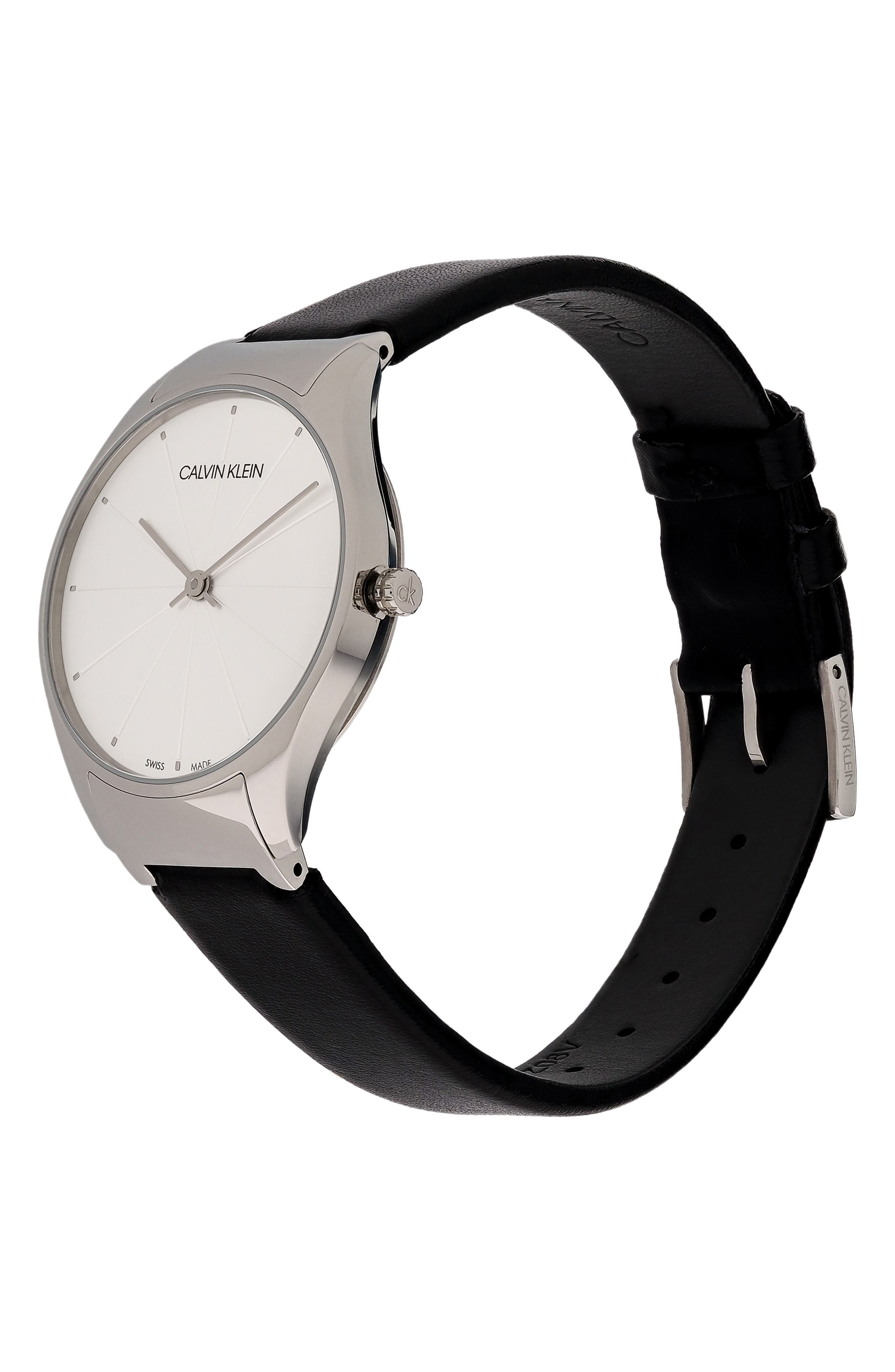 Classic Leather Strap Watch, 32mm,                             Alternate thumbnail 4, color,                             BLACK/ SILVER