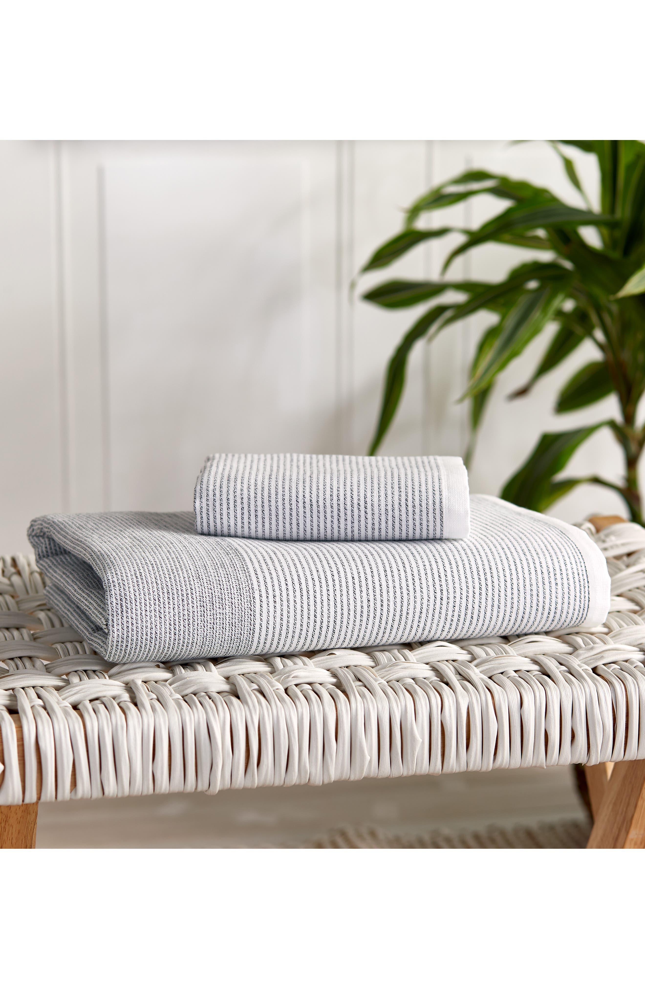 DKNY,                             PURE Stripe Hand Towel,                             Alternate thumbnail 3, color,                             WHITE/ BLACK