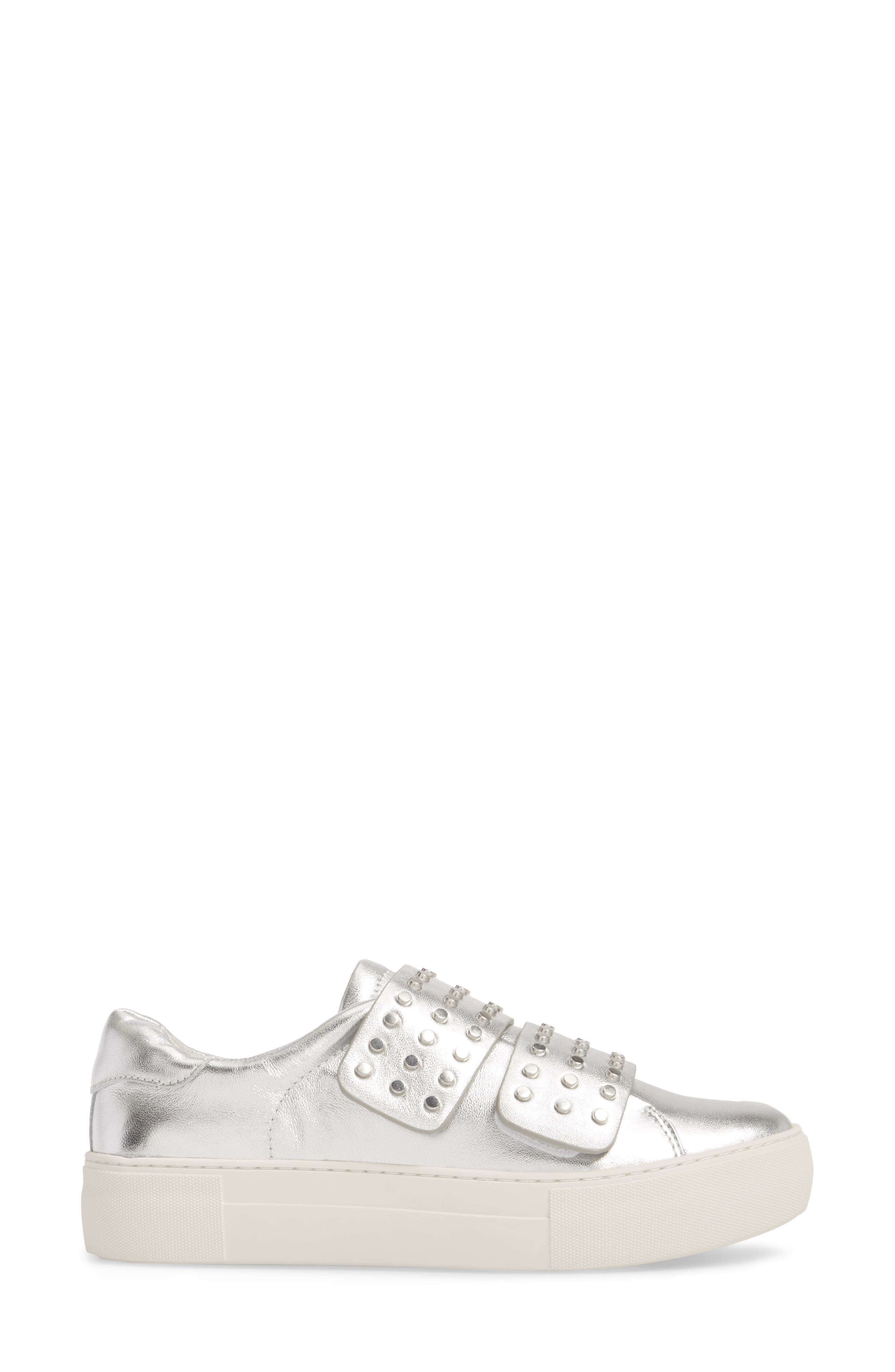 Accent Slip-On Sneaker,                             Alternate thumbnail 3, color,                             SILVER METALLIC LEATHER