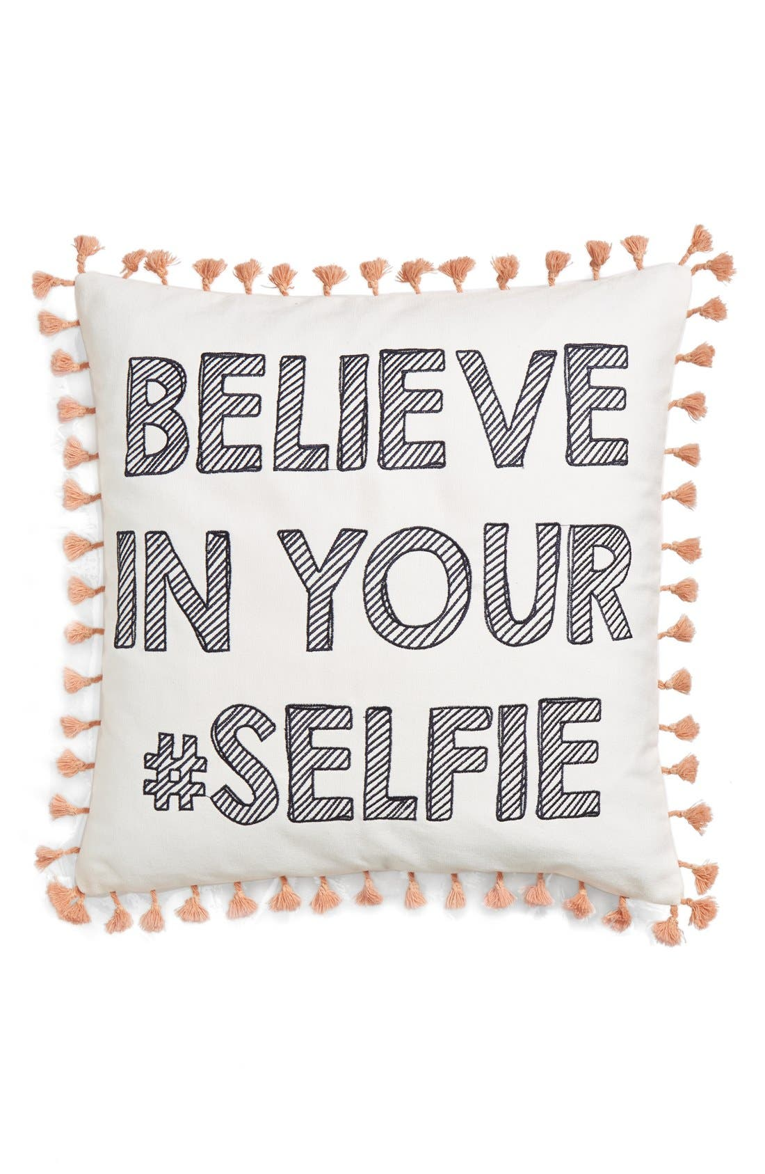 'Believe In Your #Selfie' Pillow,                             Main thumbnail 1, color,                             100
