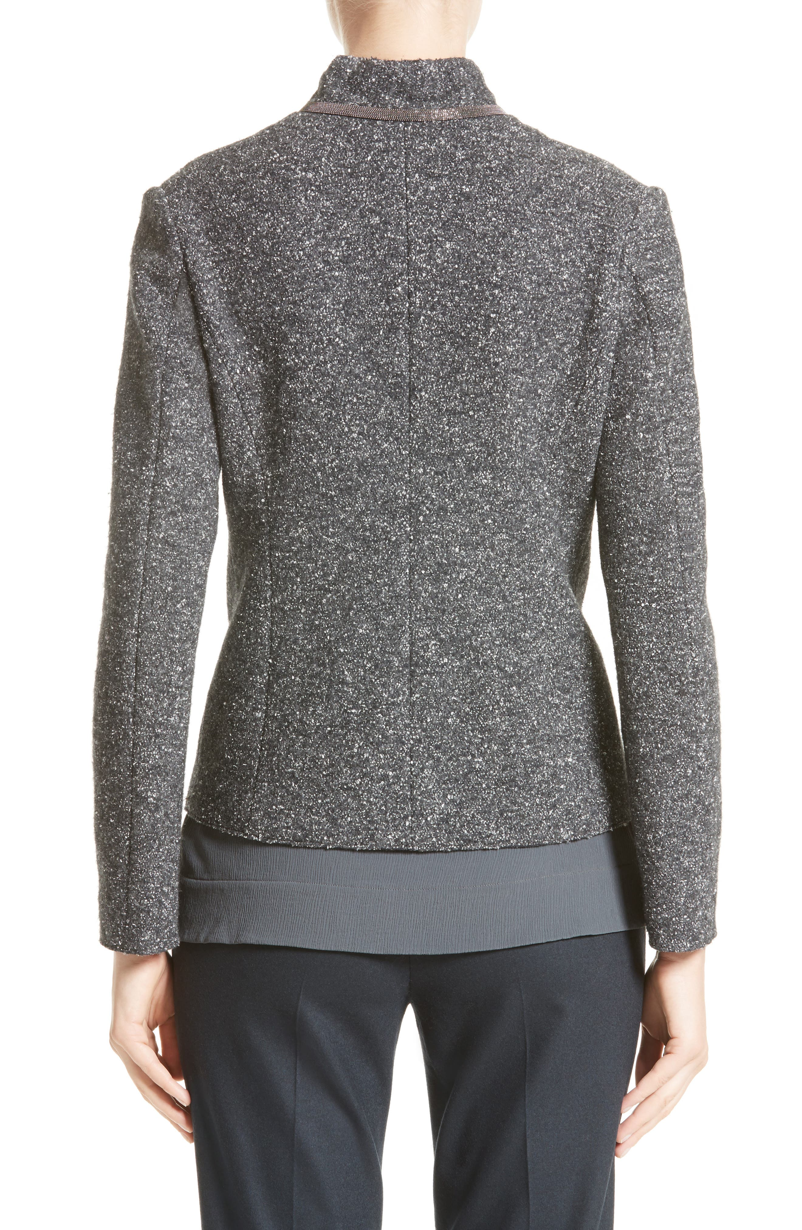 Pebble Tweed Knit Jacket,                             Alternate thumbnail 3, color,