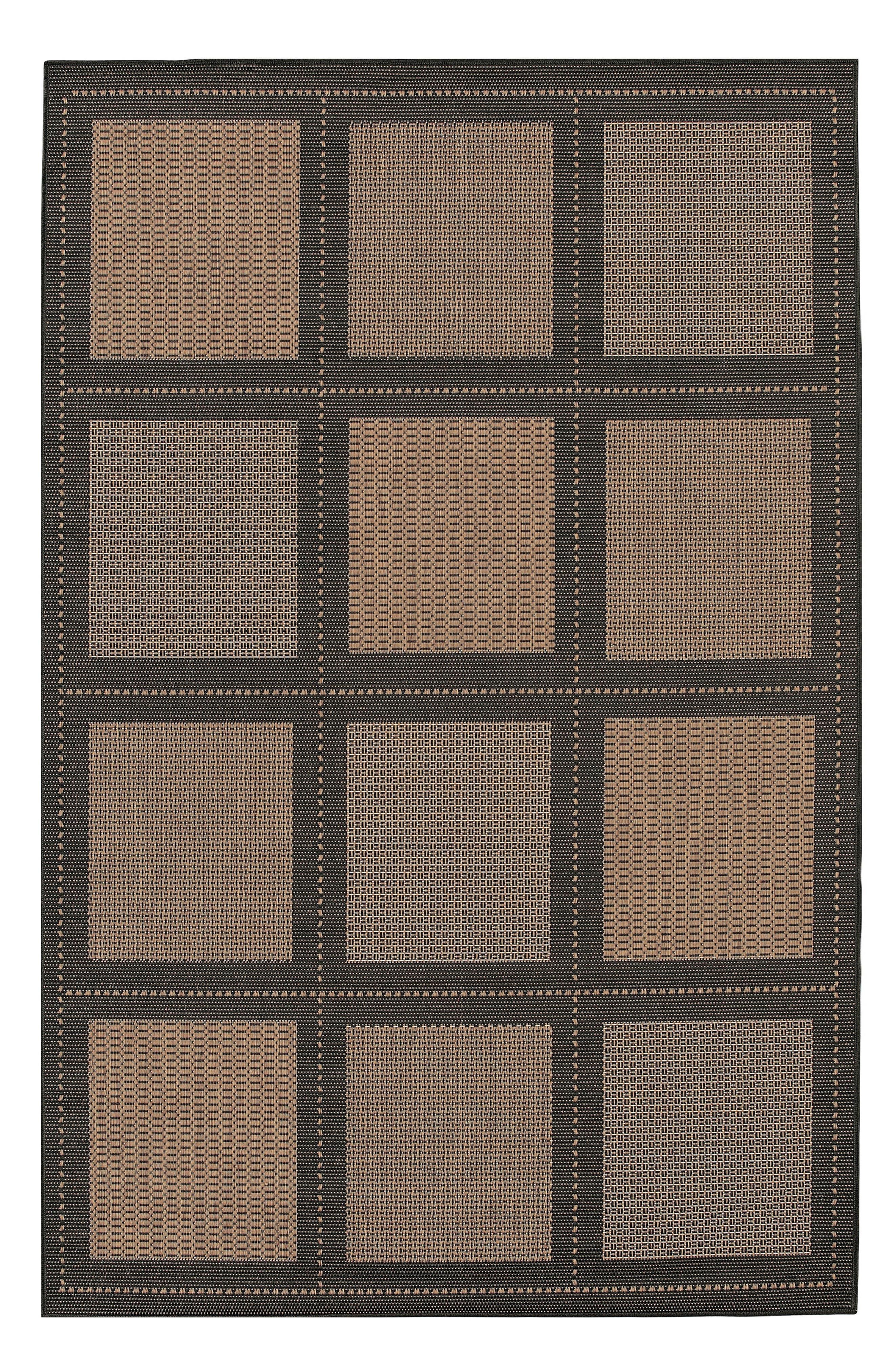 Reeife Summit Indoor/Outdoor Rug,                             Main thumbnail 1, color,                             COCOA/ BLACK