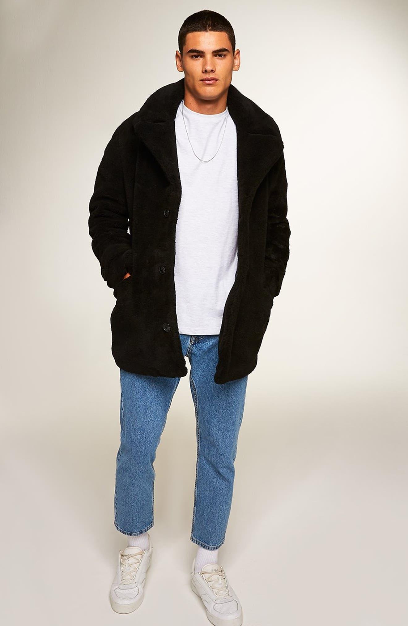 Faux Fur Coat,                             Alternate thumbnail 6, color,                             BLACK