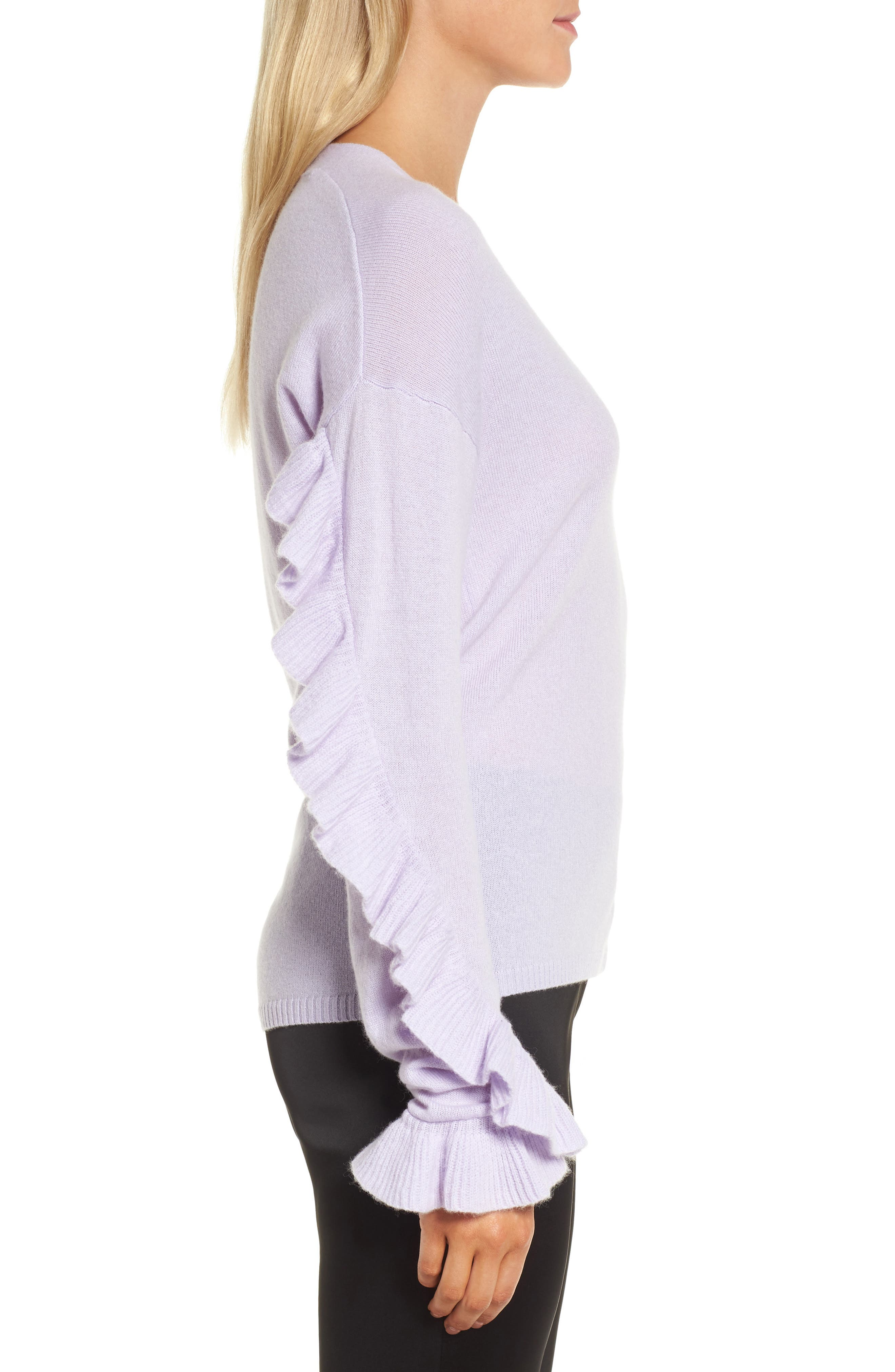 Ruffle Sleeve Cashmere Sweater,                             Alternate thumbnail 6, color,