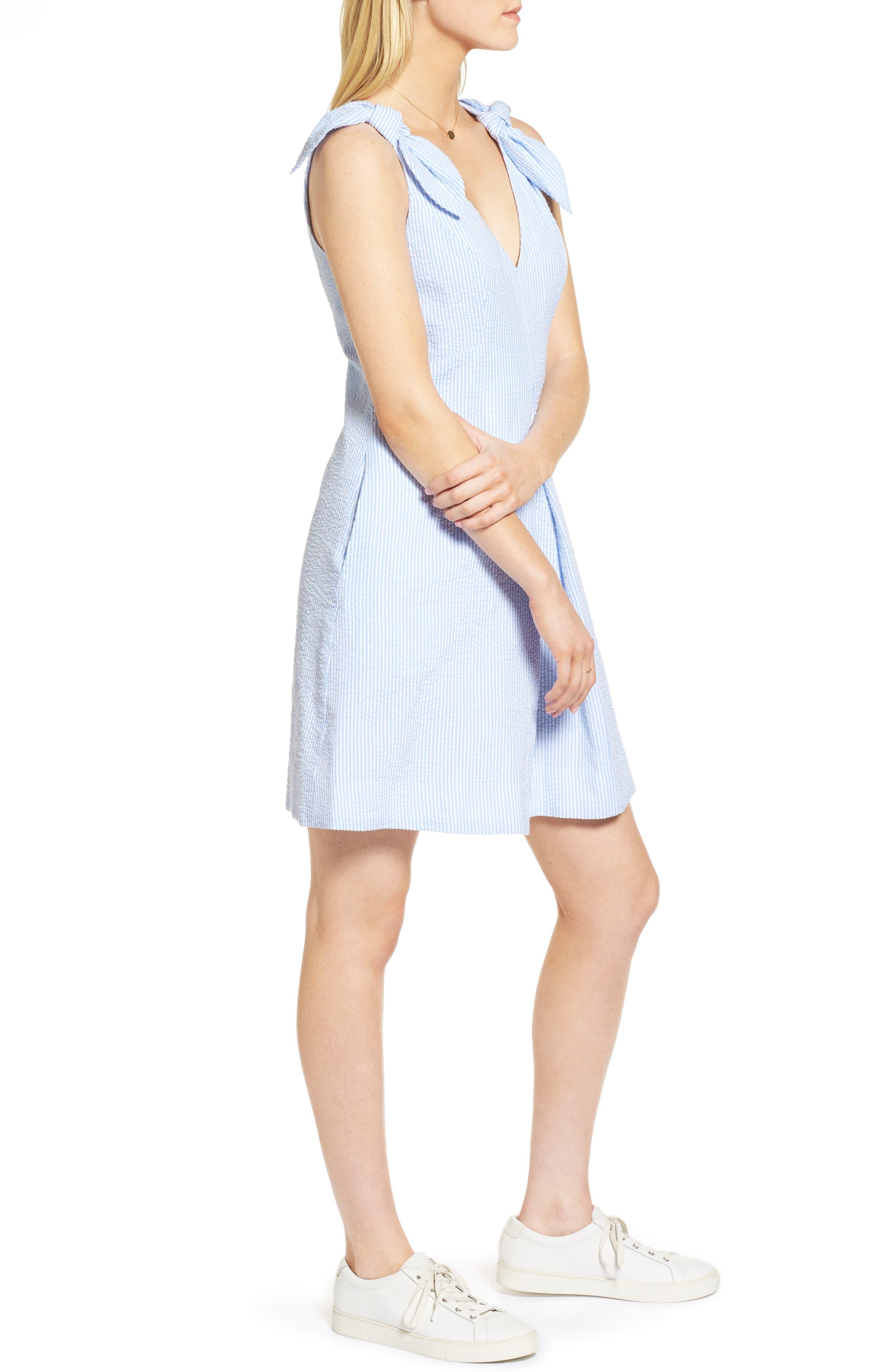 Bow Seersucker Dress,                             Alternate thumbnail 3, color,                             420
