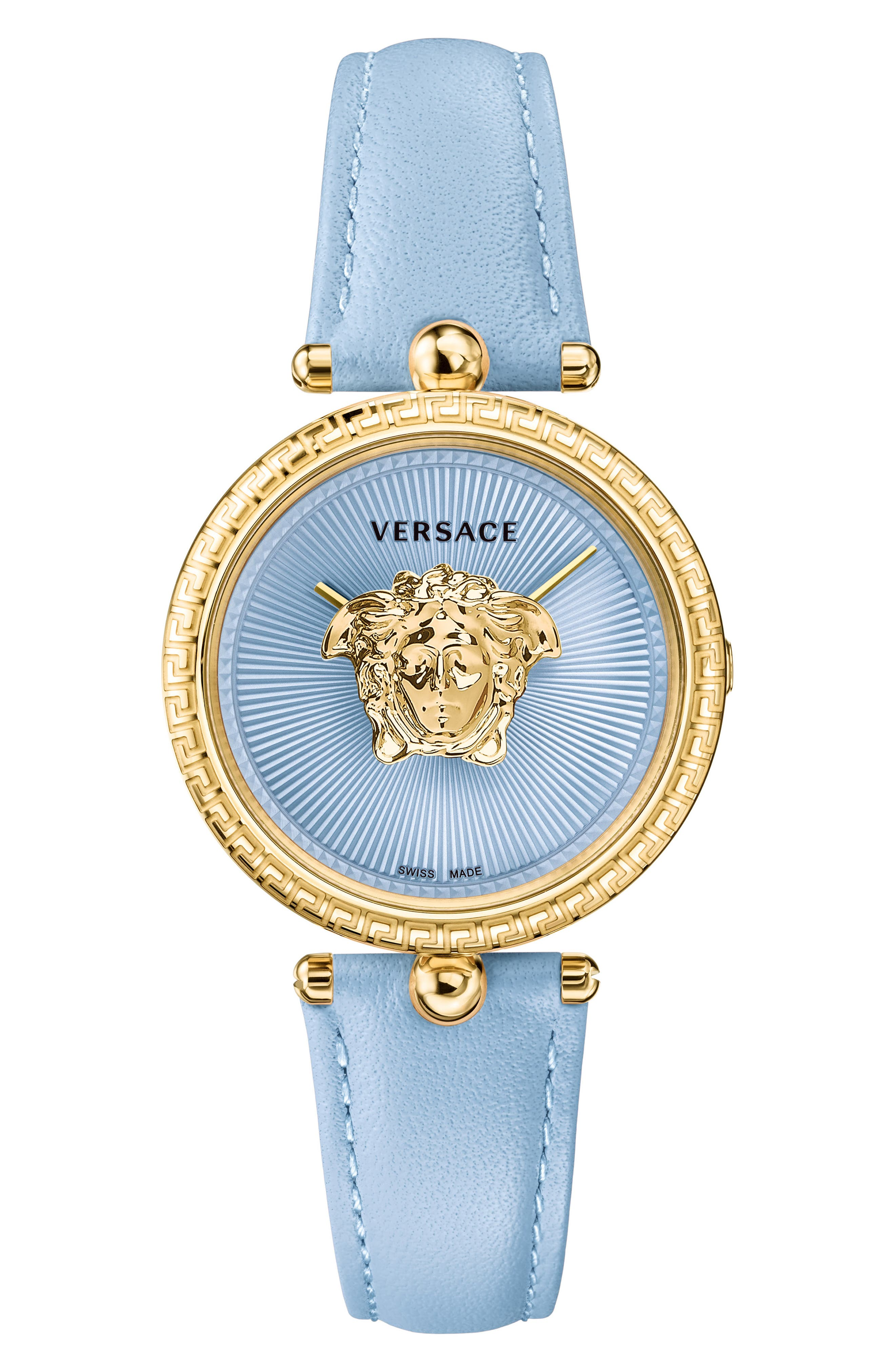 Palazzo Empire Leather Strap Watch, 34mm,                             Main thumbnail 1, color,                             BLUE/ GOLD